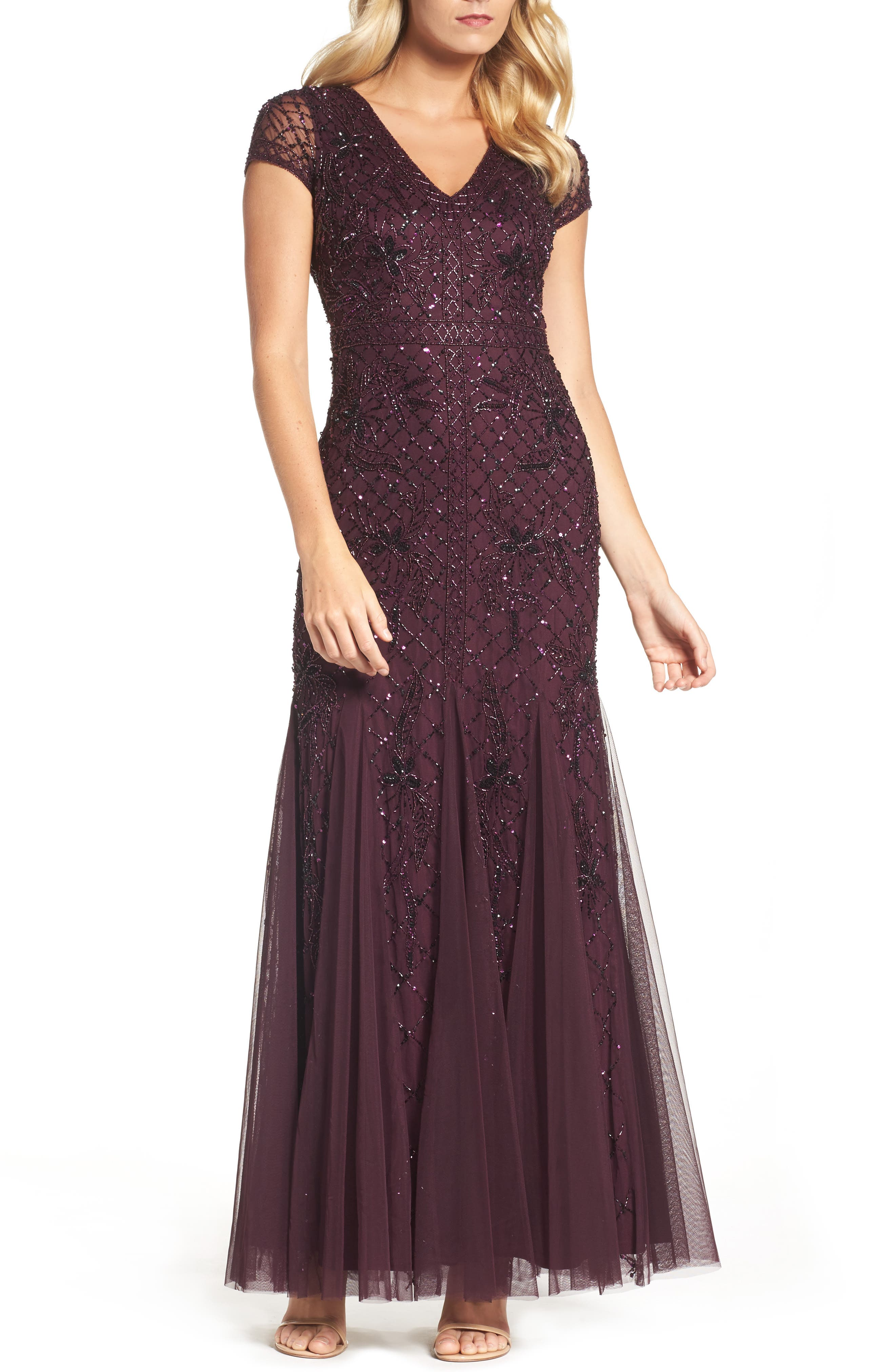 ADRIANNA PAPELL Grid Floral Beaded Mesh Gown