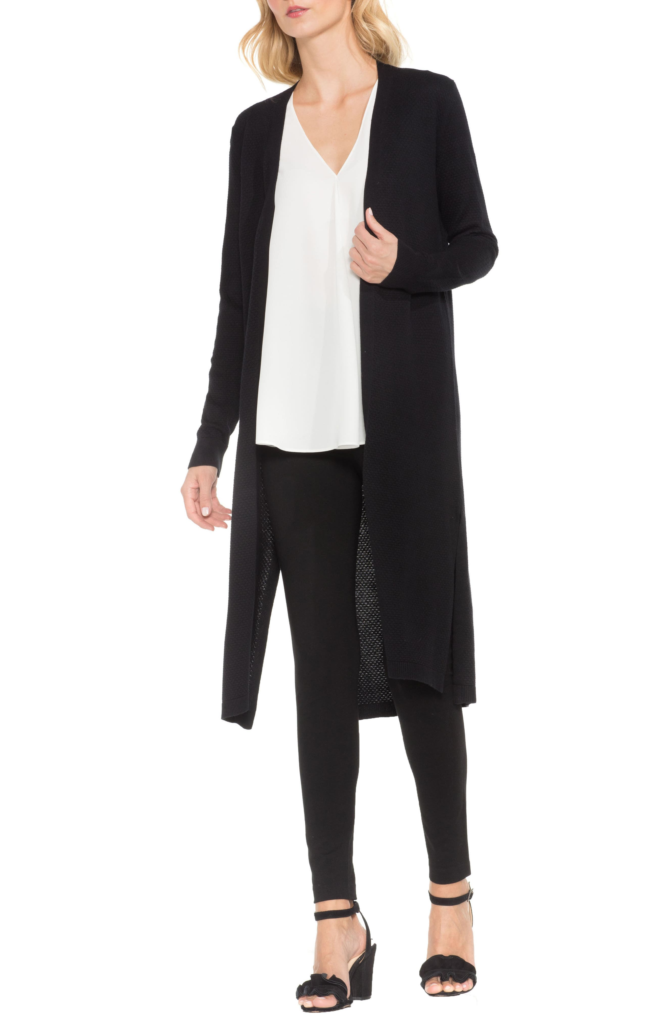 Textured Long Cardigan,                         Main,                         color, Rich Black