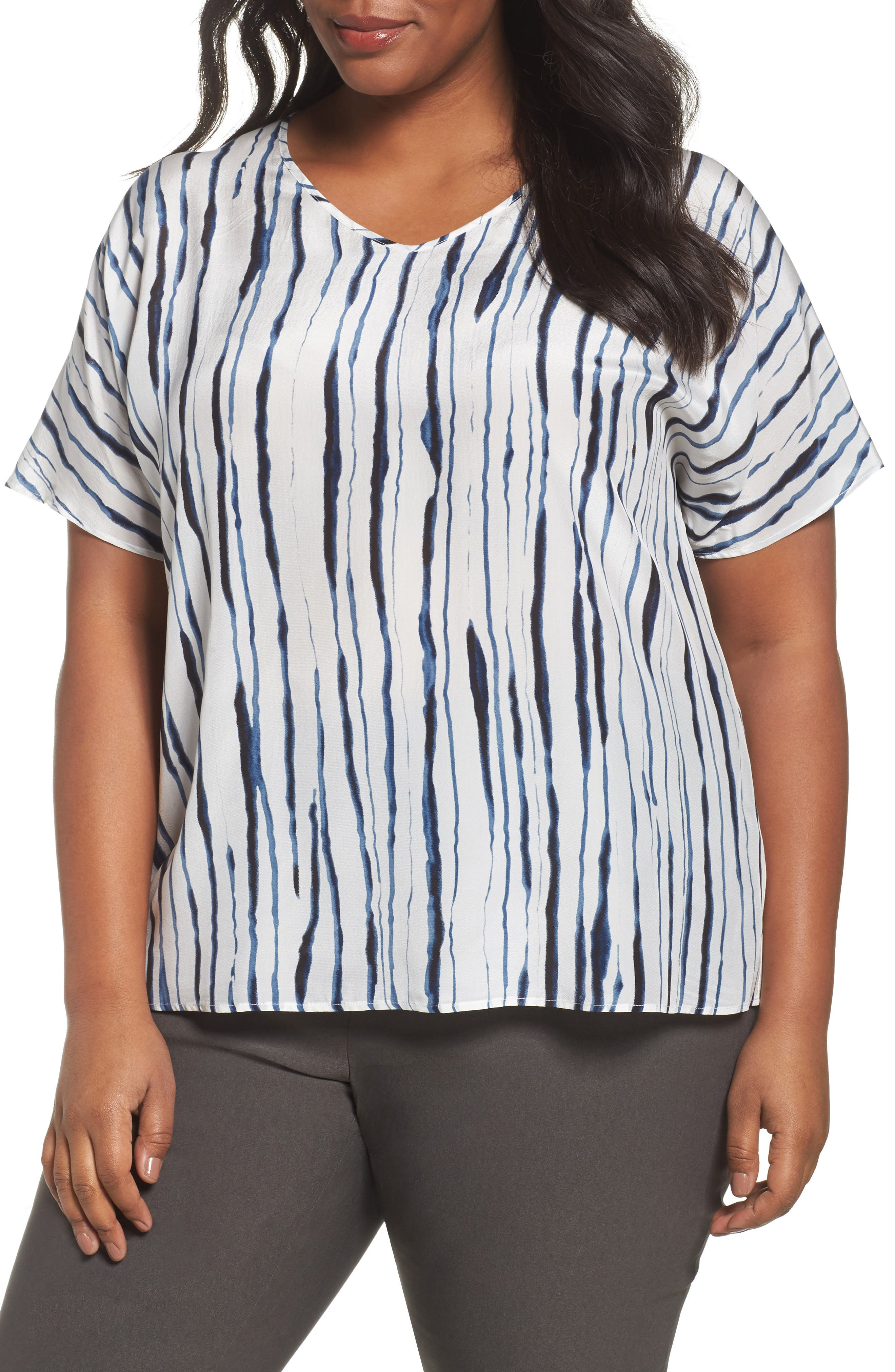 Main Image - NIC+ZOE Fluid Ink Silk Blend Tee (Plus Size)