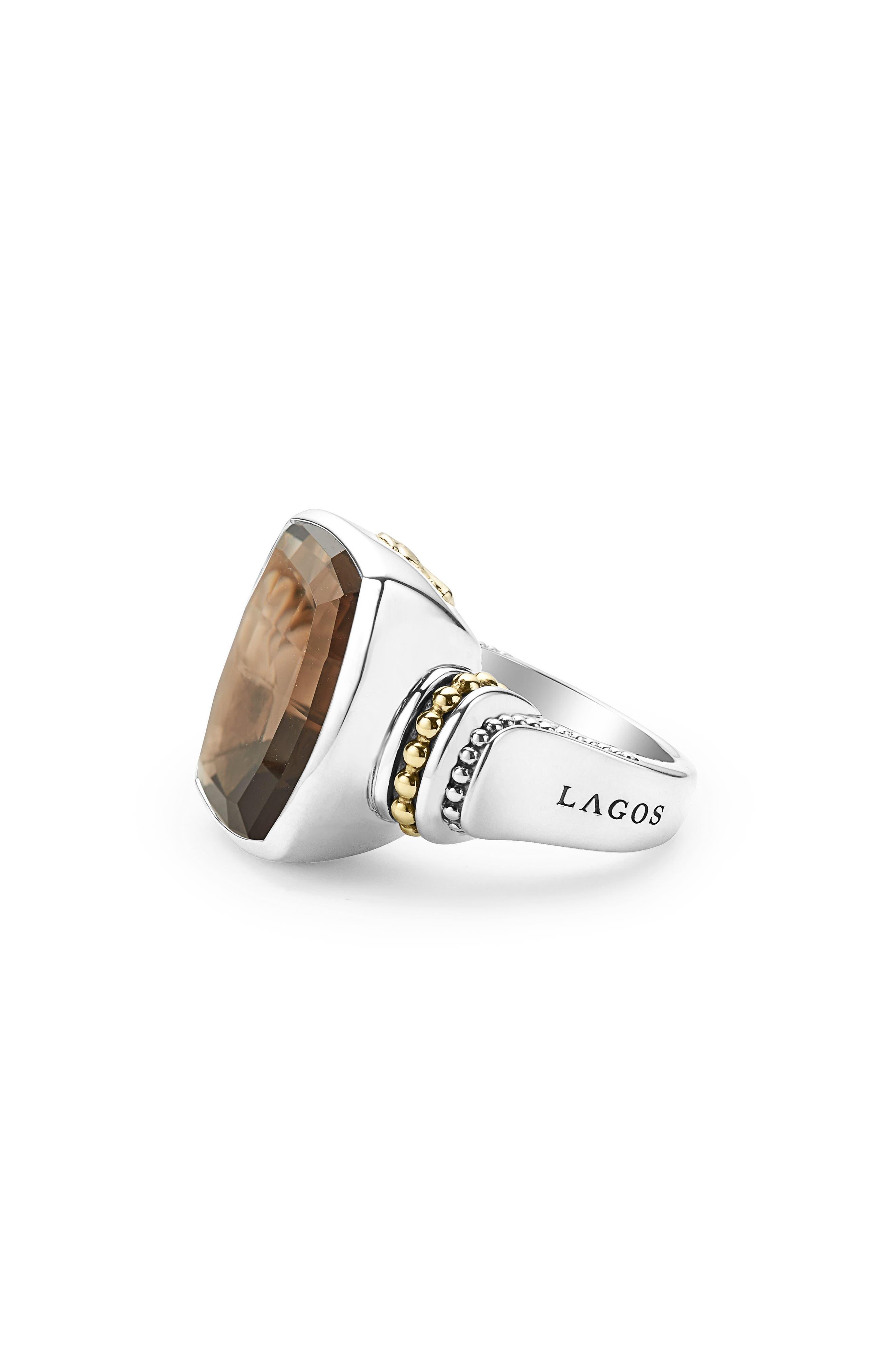'Caviar Color' Large Semiprecious Stone Ring,                             Alternate thumbnail 2, color,                             Smokey Quartz