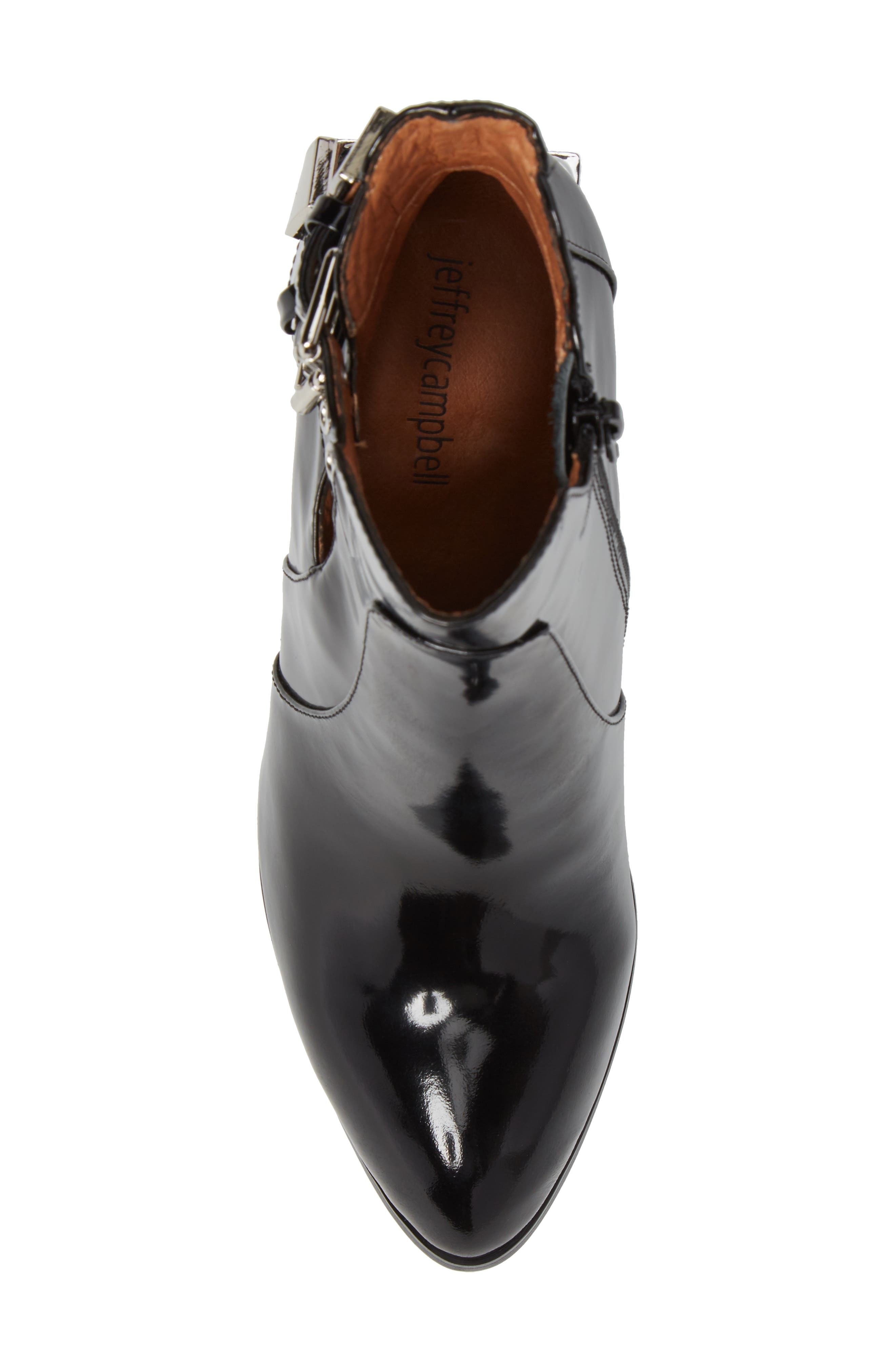 Edmund Cage Heel Bootie,                             Alternate thumbnail 5, color,                             Black Box Silver Leather