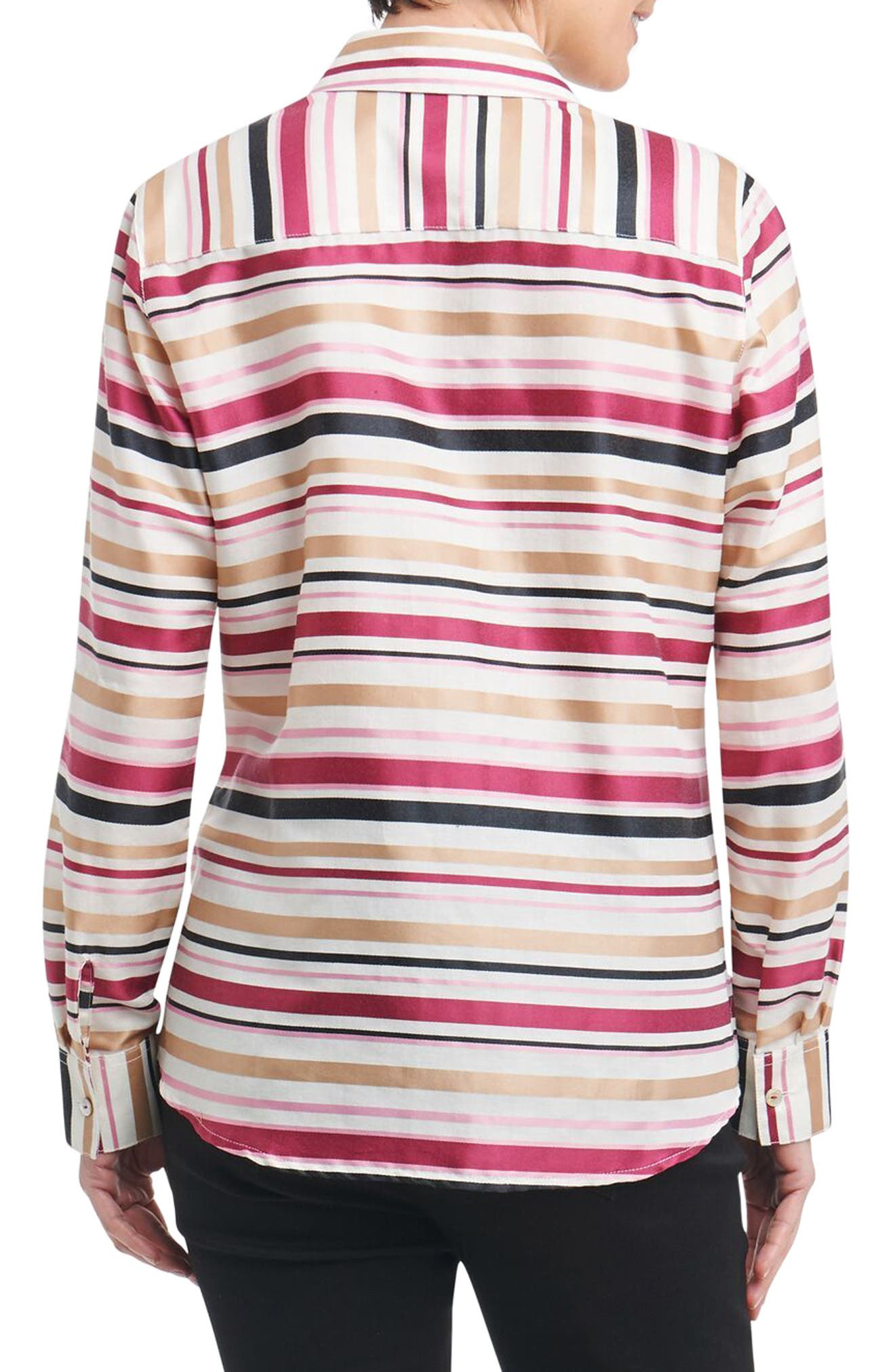 Alternate Image 2  - Foxcroft Addison Stripe Print Sateen Shirt (Regular & Petite)