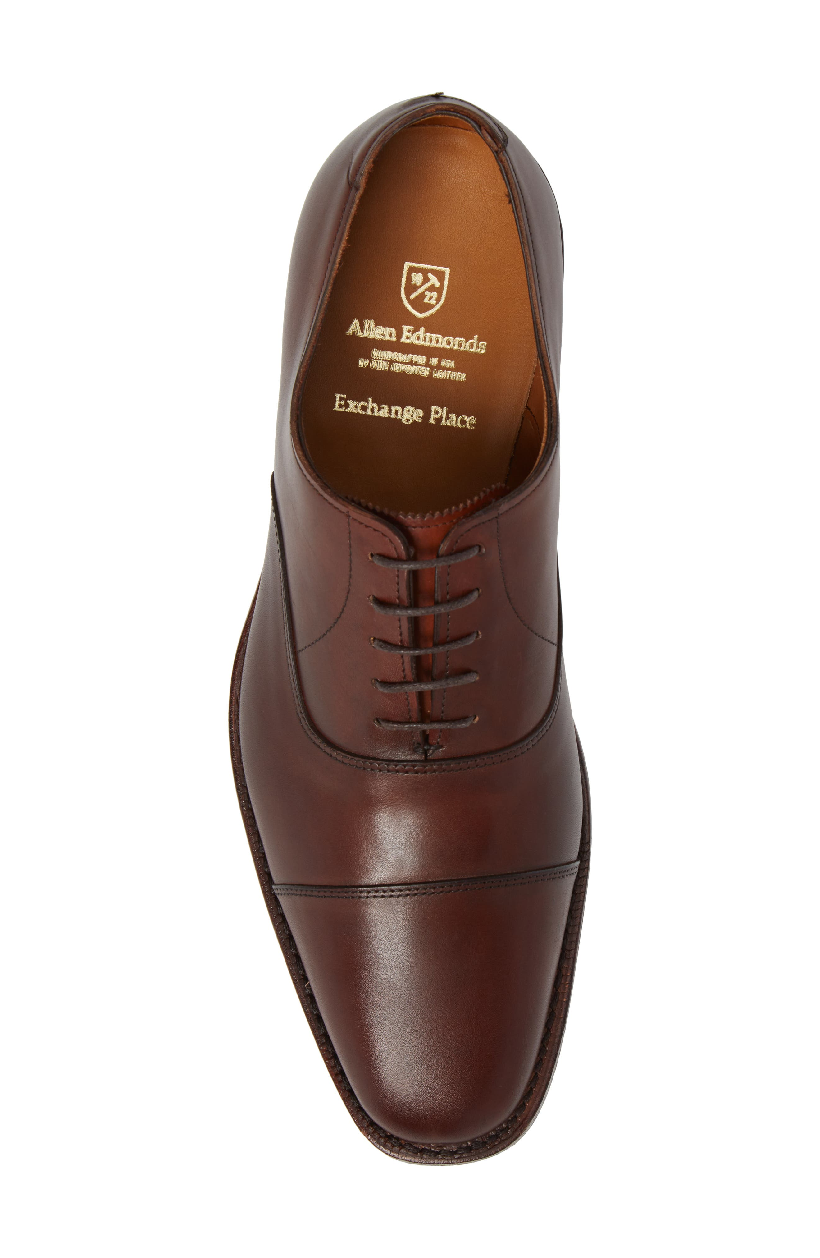 'Exchange Place' Cap Toe Oxford,                             Alternate thumbnail 5, color,                             Dark Chili Leather
