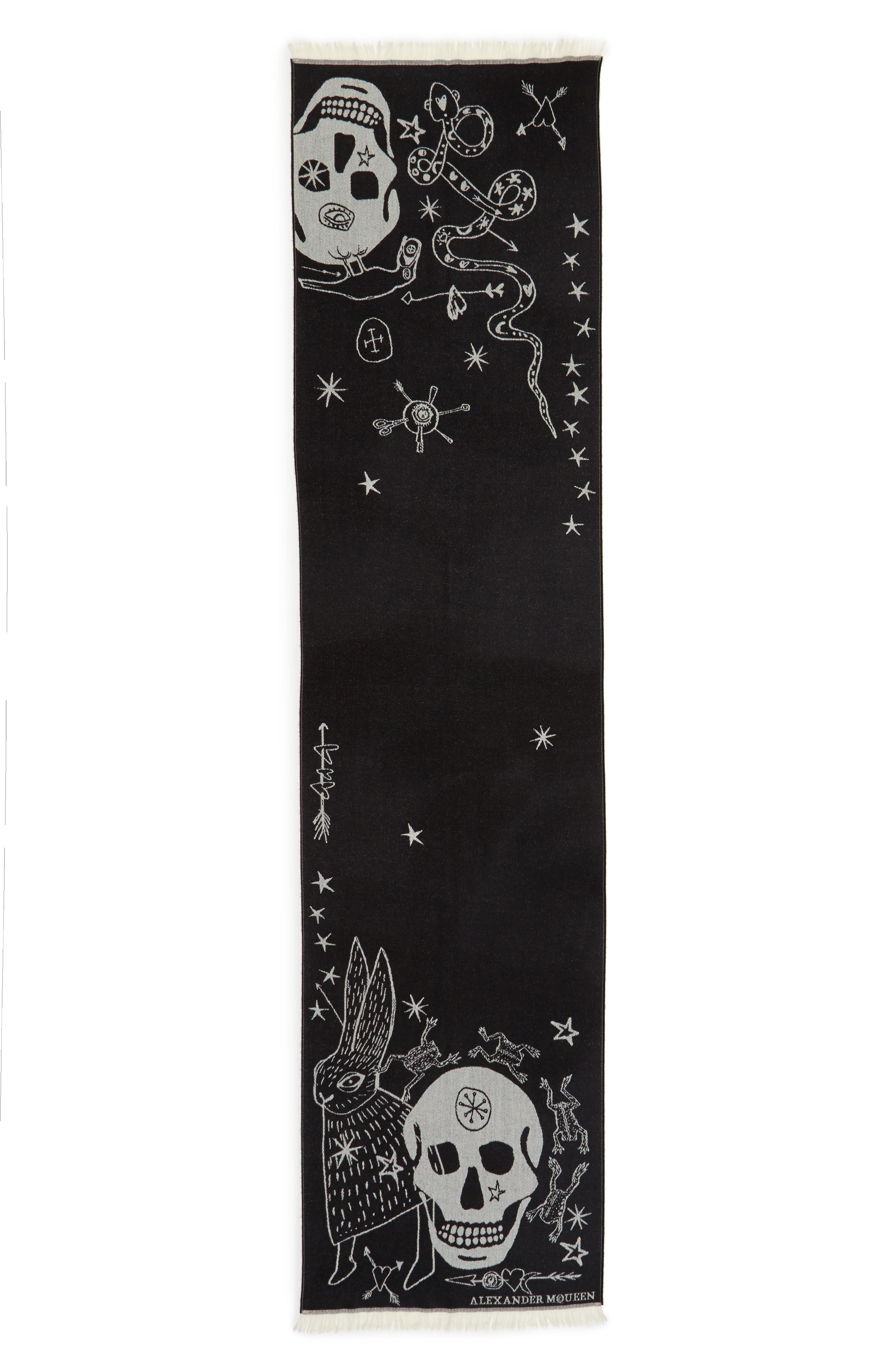 Oversize Skull Jacquard Wool Scarf,                         Main,                         color, Black/ Ivory