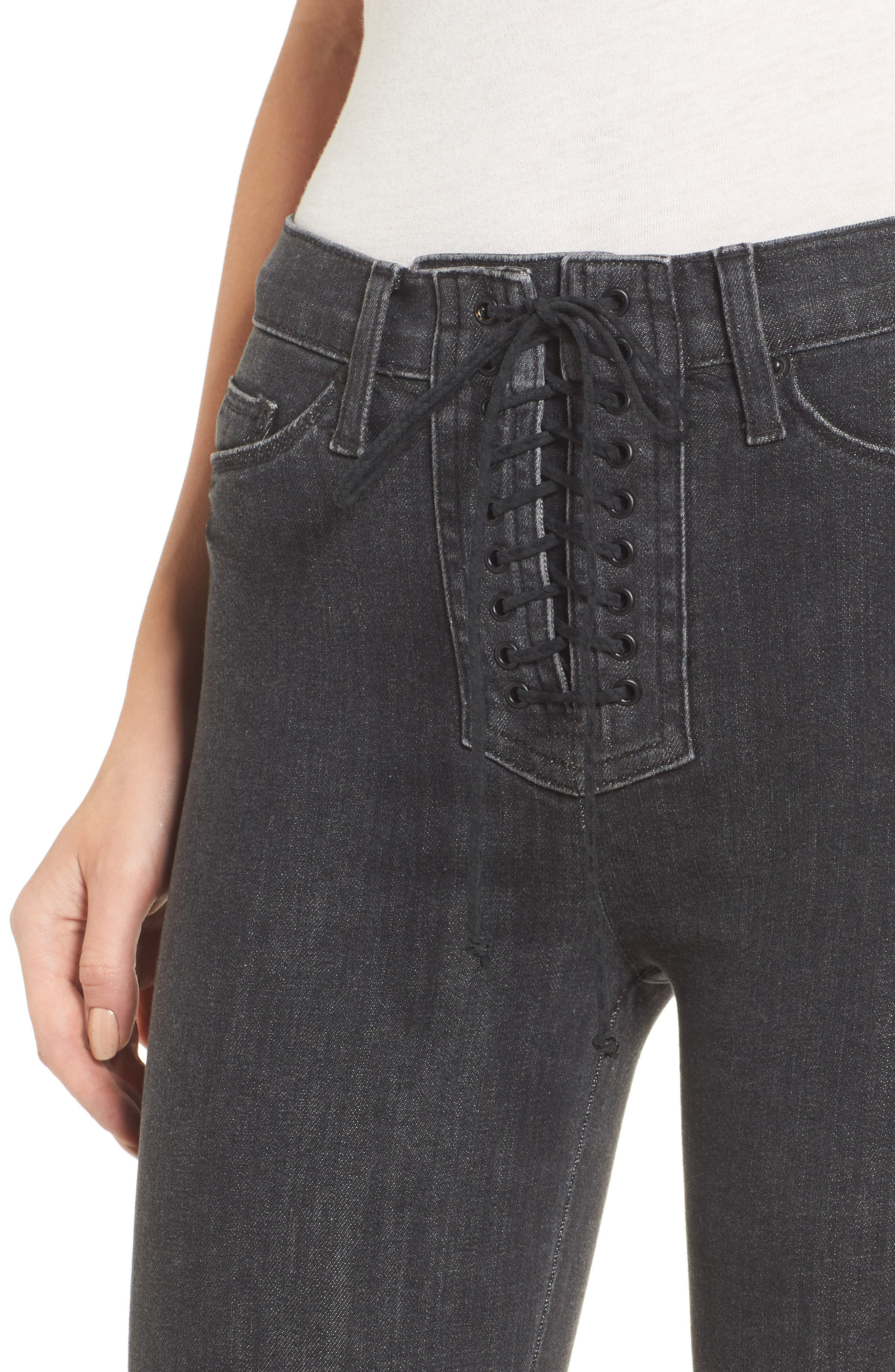 Alternate Image 4  - Hudson Jeans Bullocks High Waist Lace-Up Skinny Jeans (Disarm)