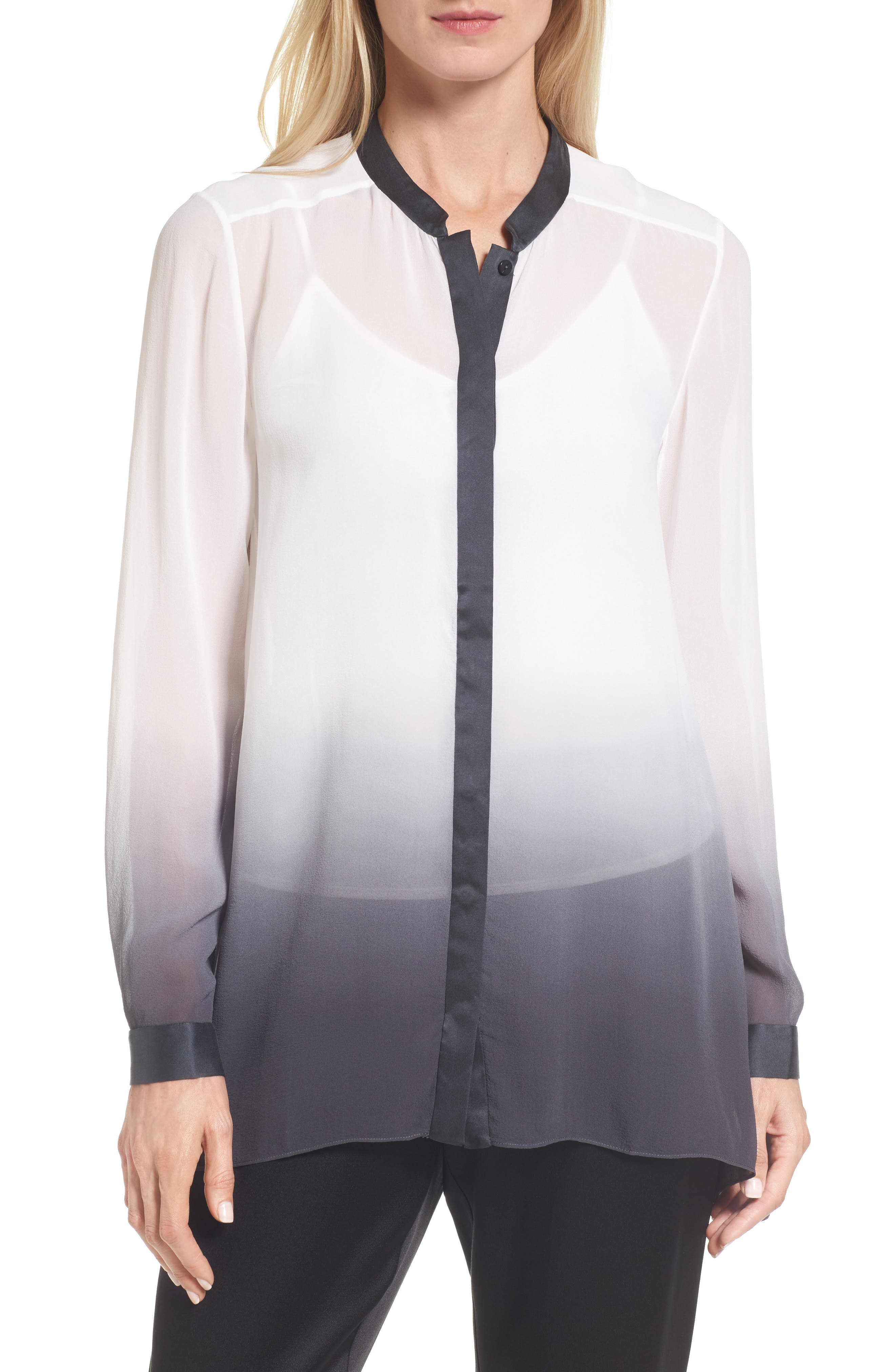 Alternate Image 1 Selected - Eileen Fisher Ombré Silk Blouse