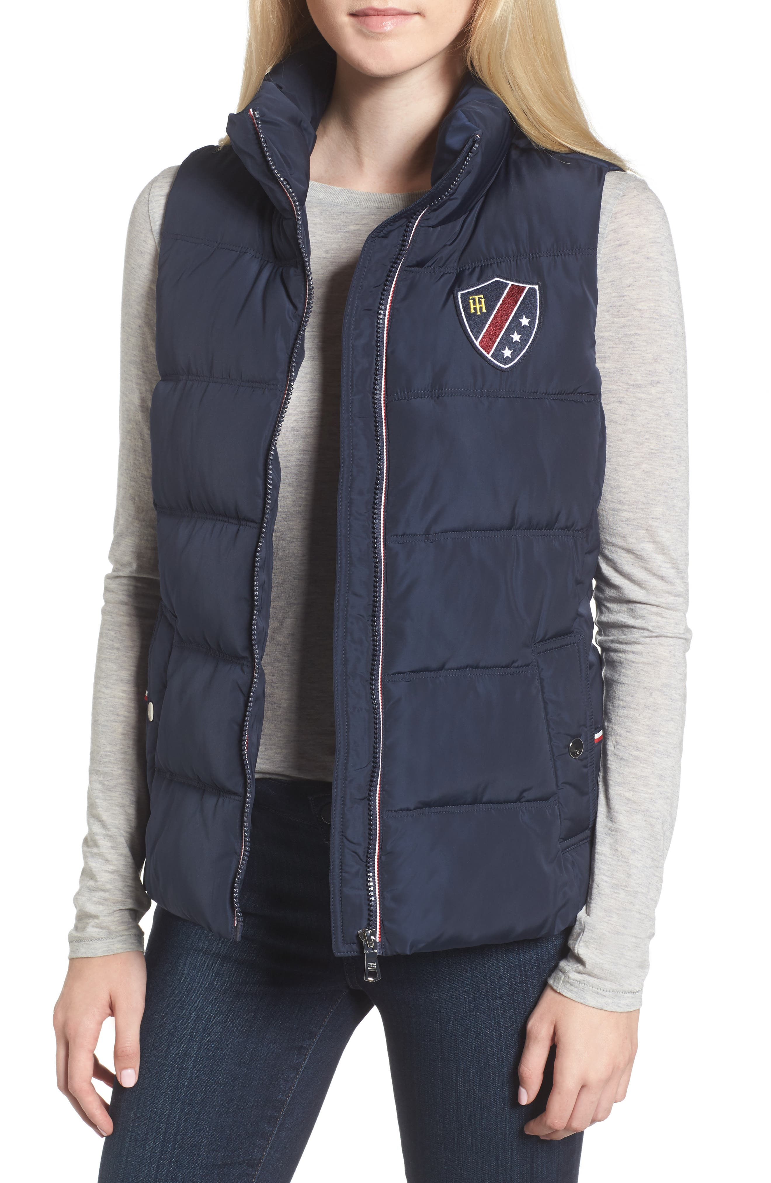 Quilted Puffer Vest,                         Main,                         color, Navy