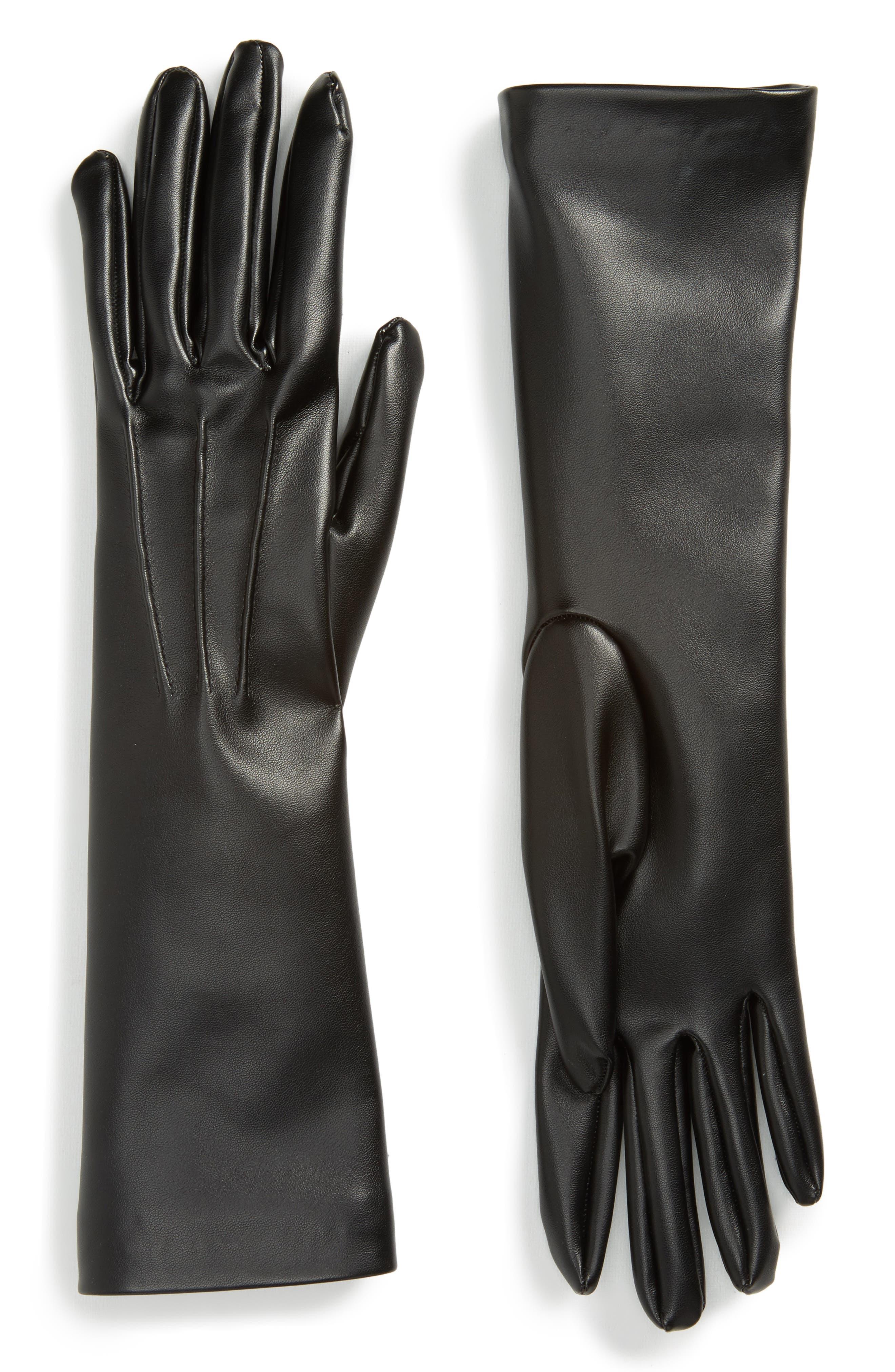 Faux Leather Gloves,                         Main,                         color, Black