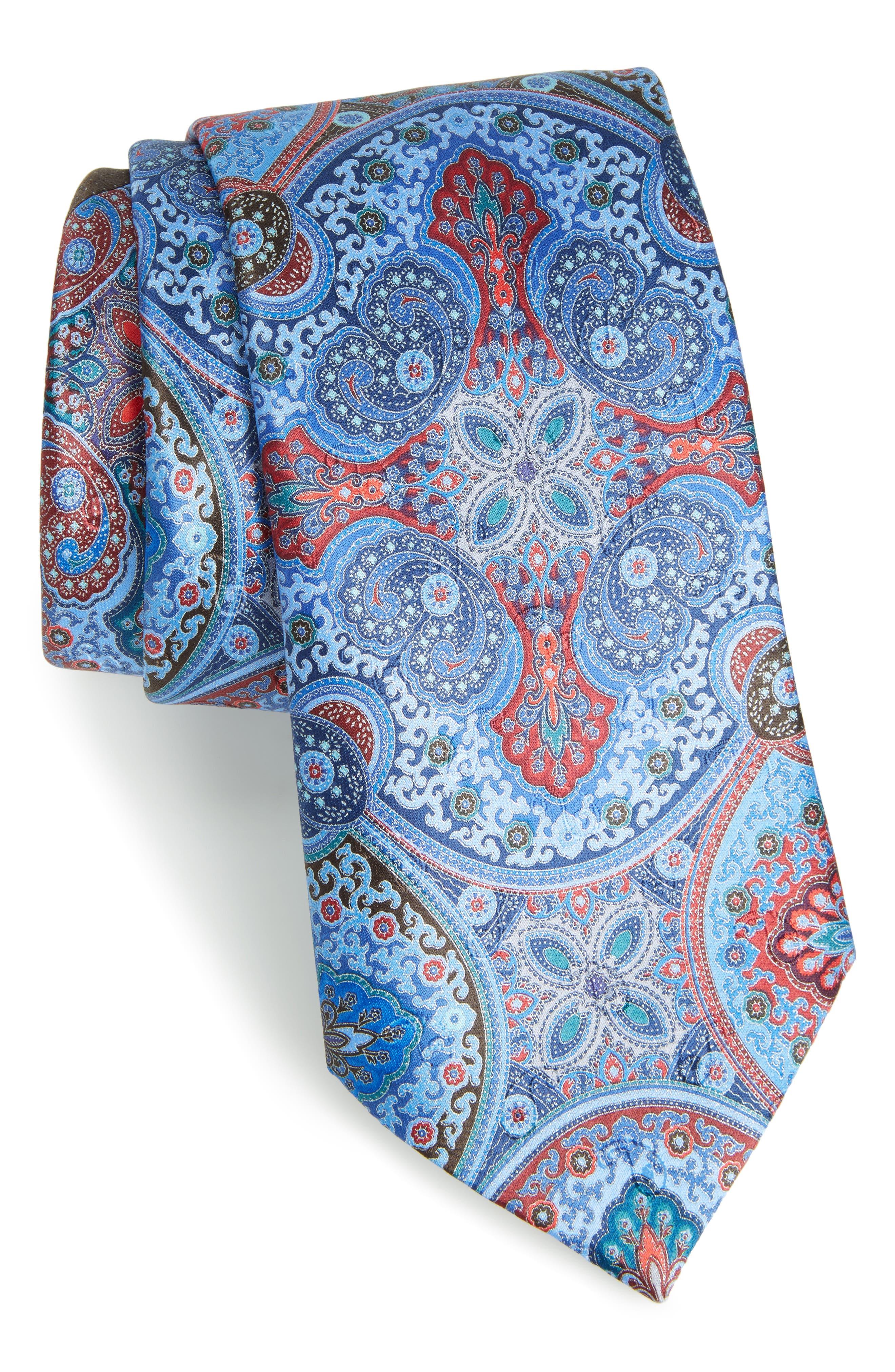 Quindici Paisley Silk Tie,                         Main,                         color, Navy