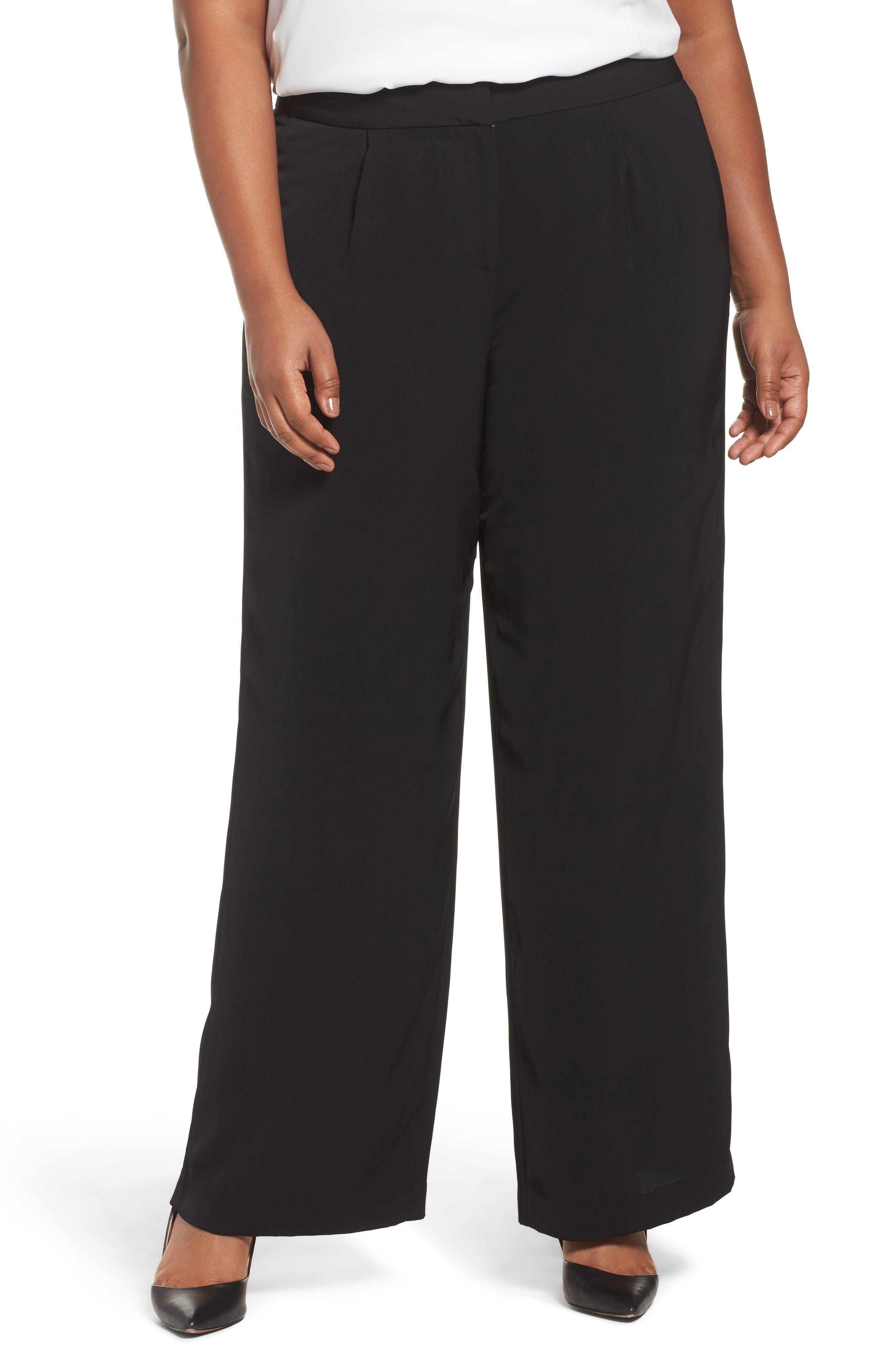 Sejour Fluid Wide Leg Pants (Plus Size)