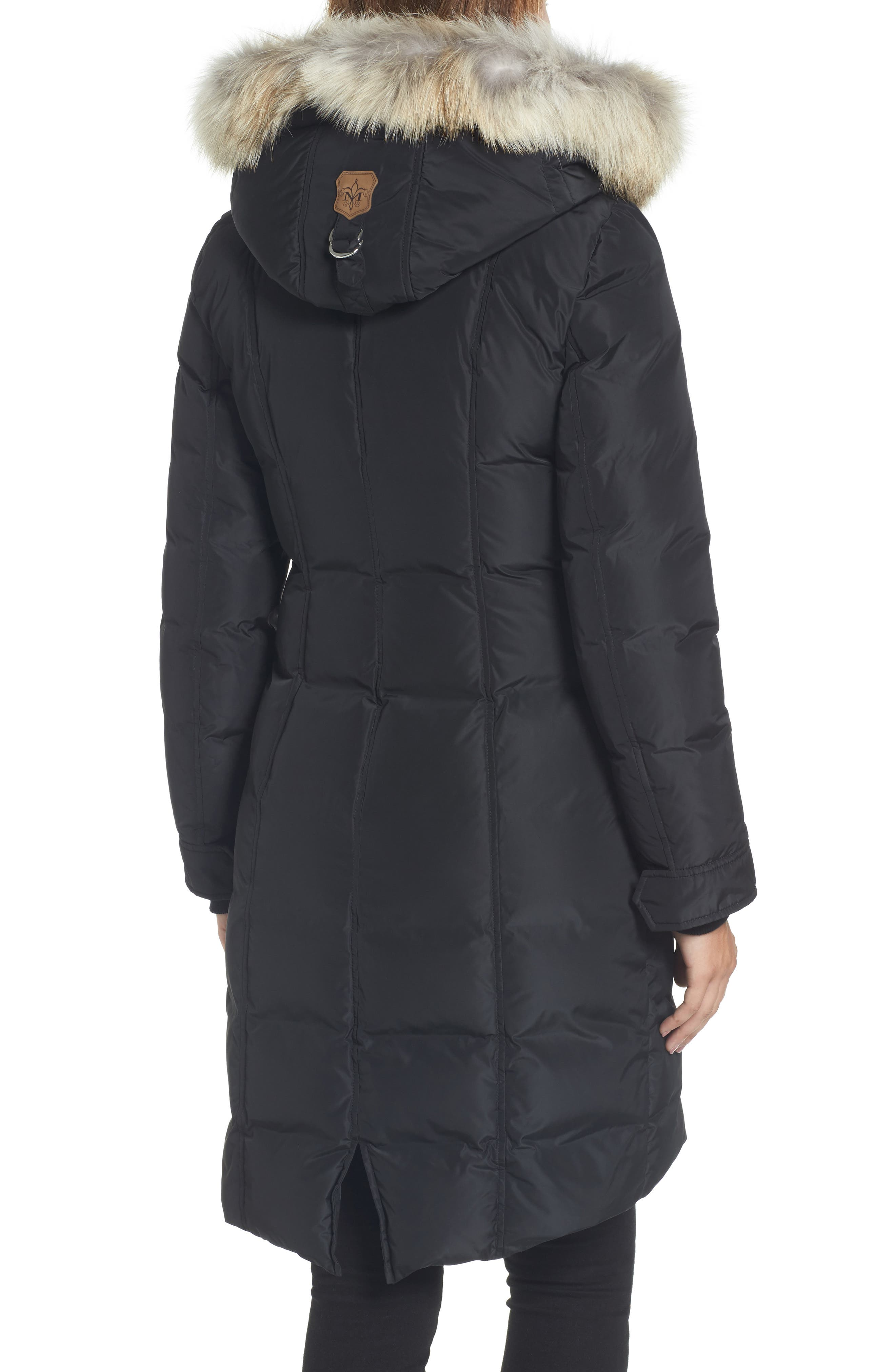 Hooded Down Parka with Genuine Coyote & Rabbit Fur Trim,                             Alternate thumbnail 2, color,                             Black