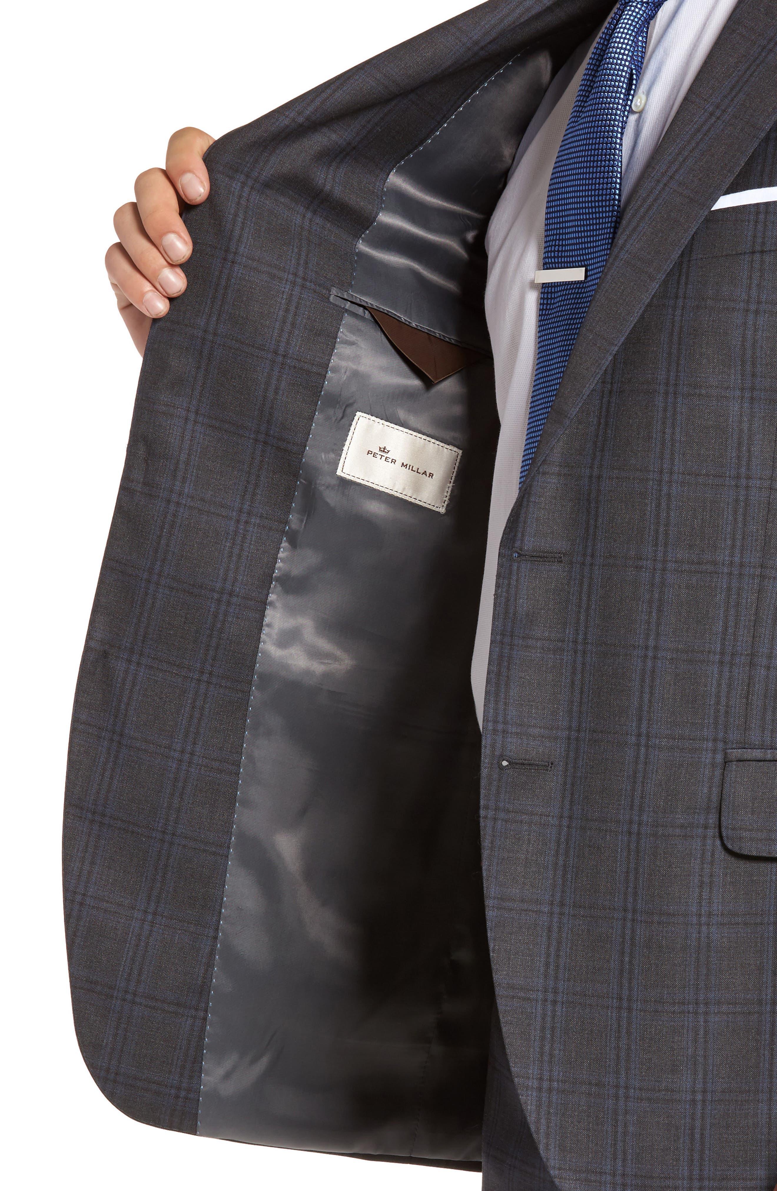 Flynn Classic Fit Plaid Wool Suit,                             Alternate thumbnail 4, color,                             Grey