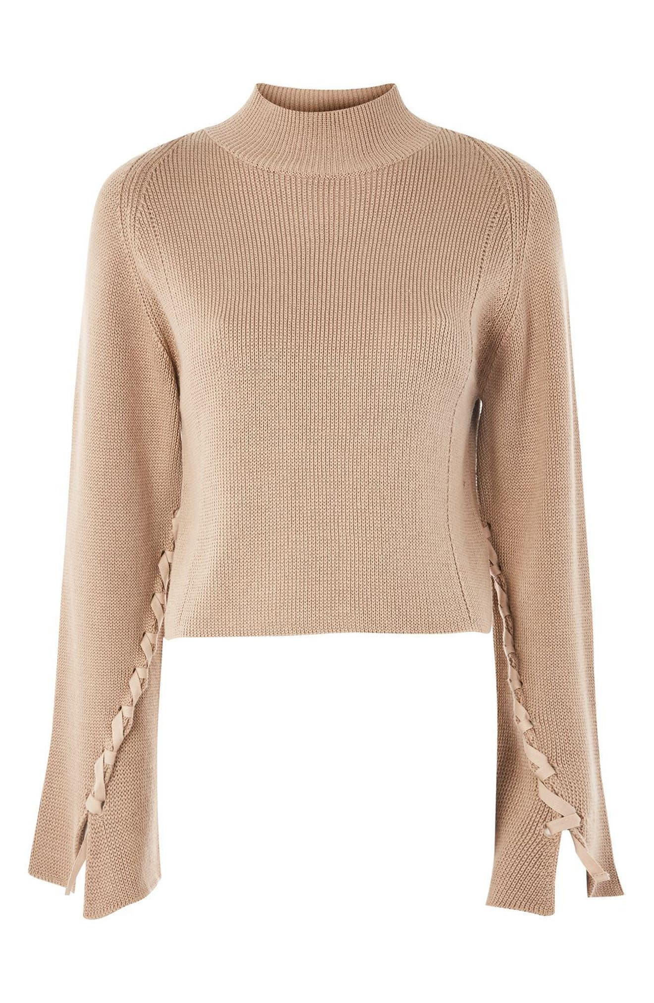 Lace Sleeve Funnel Neck Sweater,                             Alternate thumbnail 5, color,                             Mink