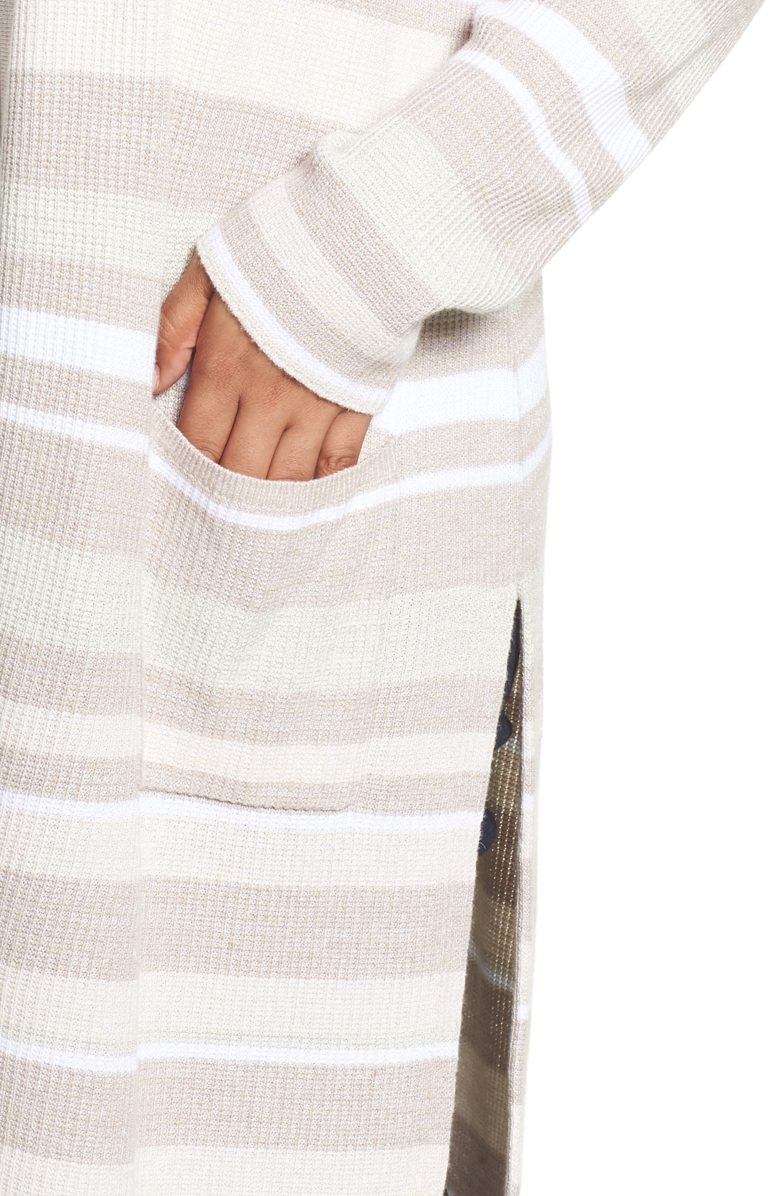 Rhona Textured Stripe Longline Cardigan,                             Alternate thumbnail 4, color,                             Neutral
