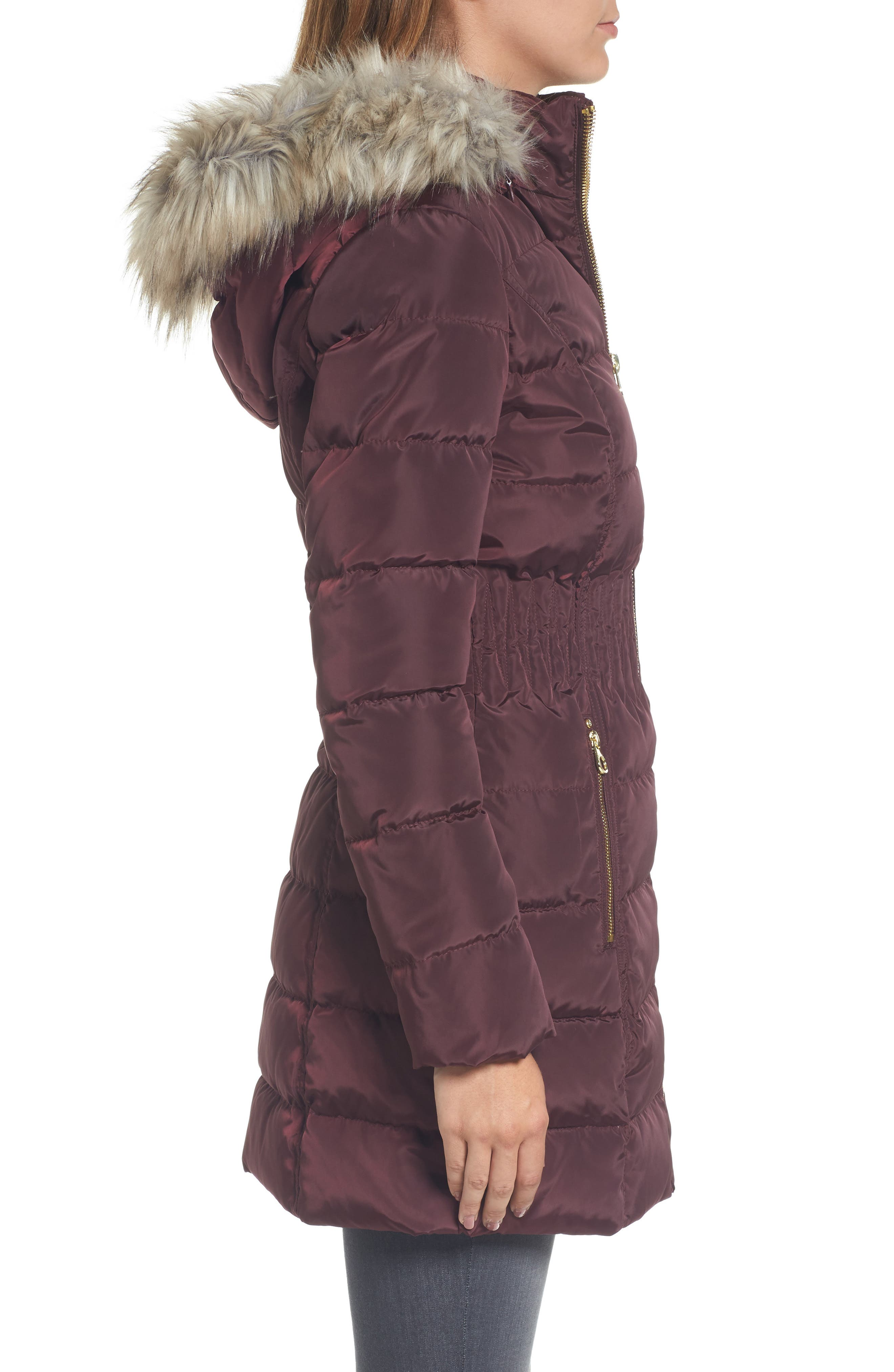 Hooded Quilted Jacket with Faux Fur Trim,                             Alternate thumbnail 3, color,                             Port Royal