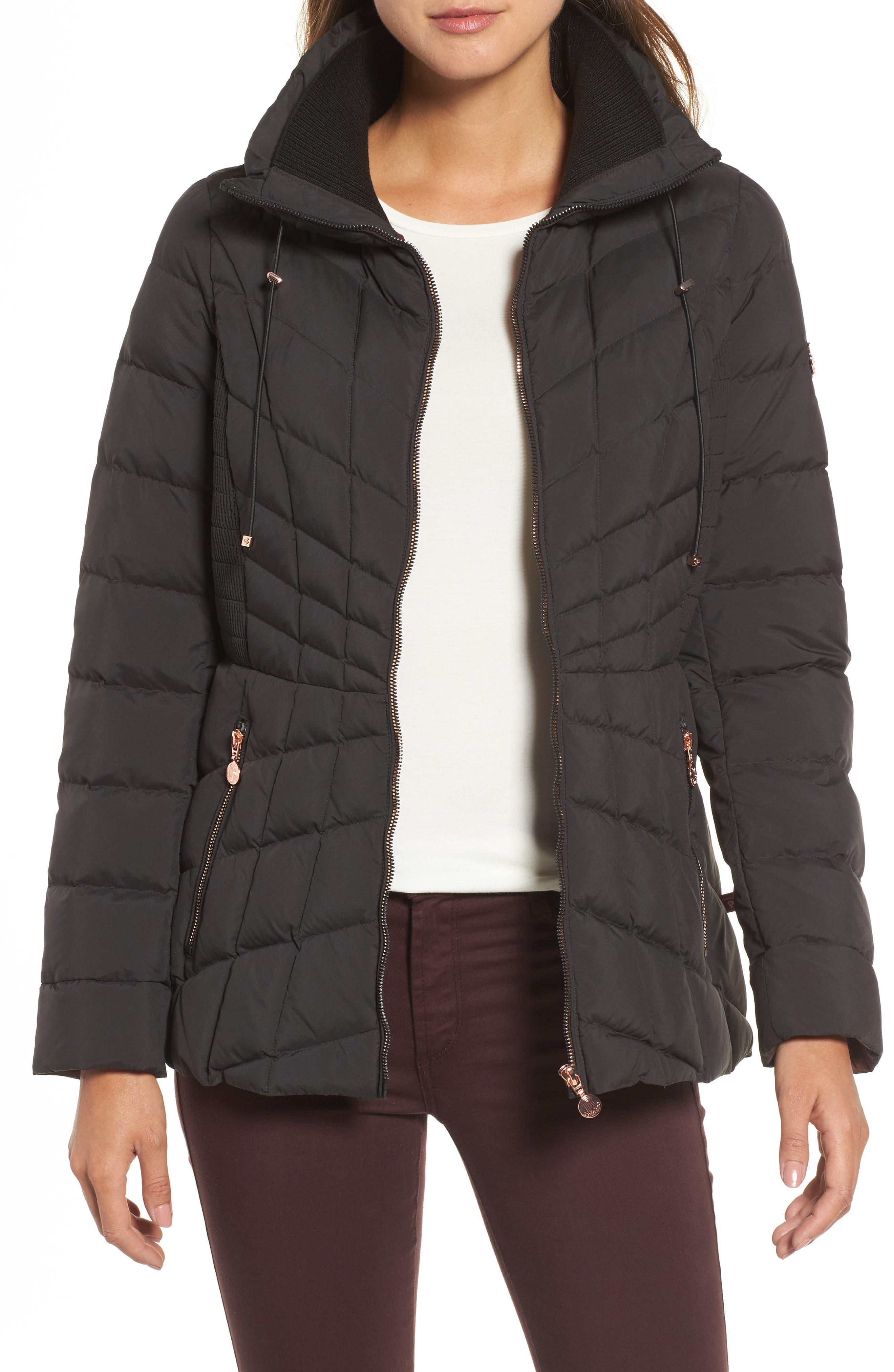 Packable Down & PrimaLoft<sup>®</sup> Coat,                         Main,                         color, Black Dark Cherry