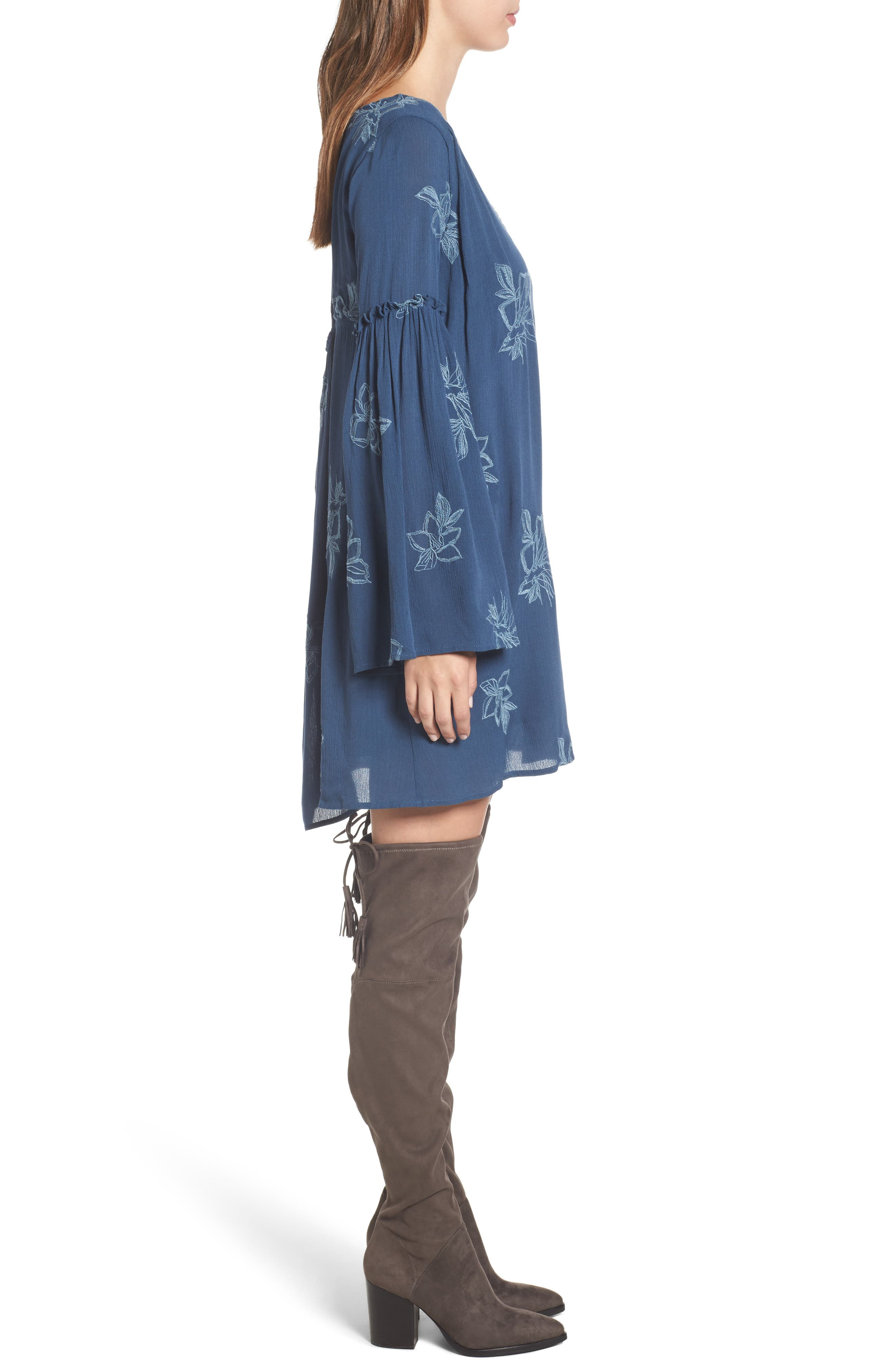 Autumn Embroidered Swing Dress,                             Alternate thumbnail 3, color,                             Blue