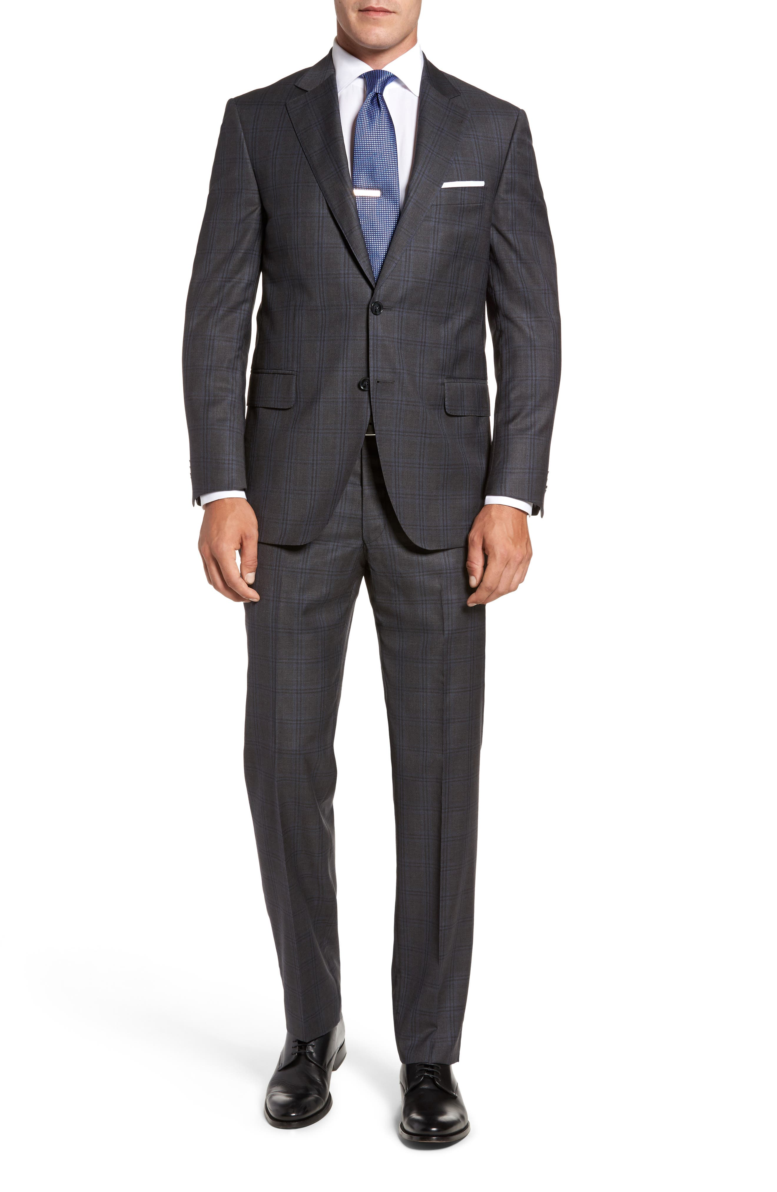 Flynn Classic Fit Plaid Wool Suit,                         Main,                         color, Grey