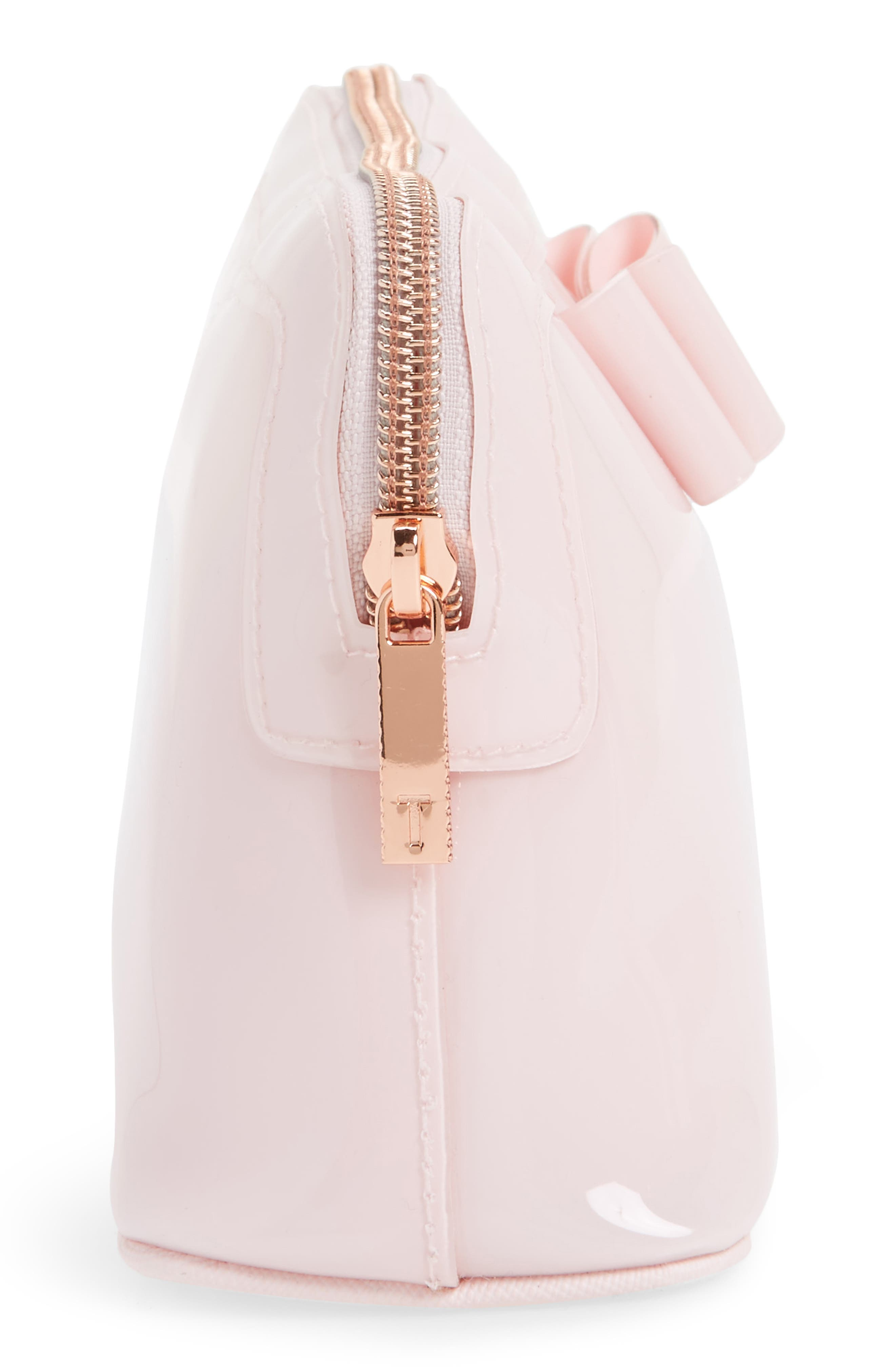 Julis Bow PVC Cosmetics Case,                             Alternate thumbnail 4, color,                             Dusky Pink
