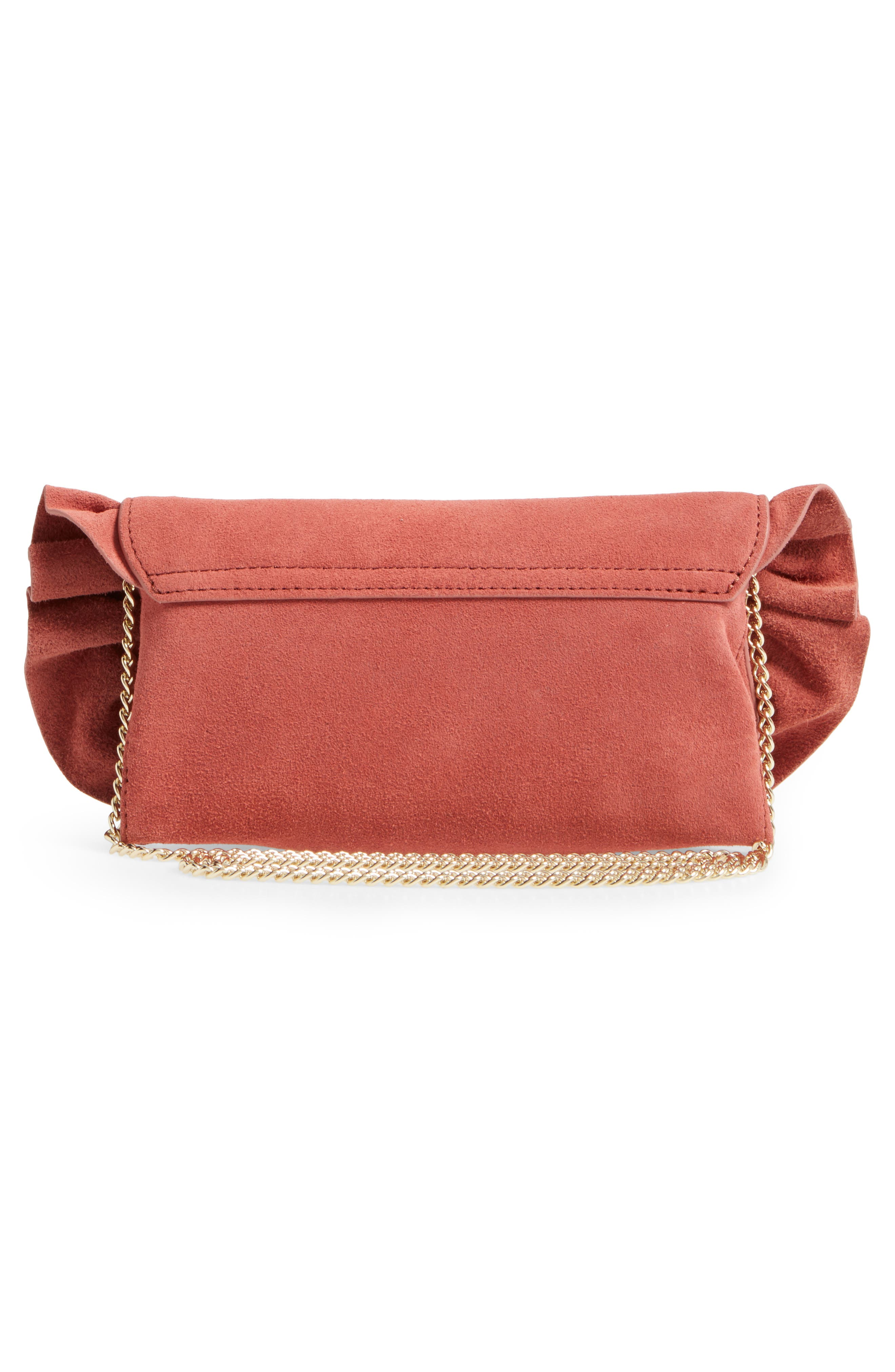 Ruffle Clutch,                             Alternate thumbnail 5, color,                             Dusty Rose