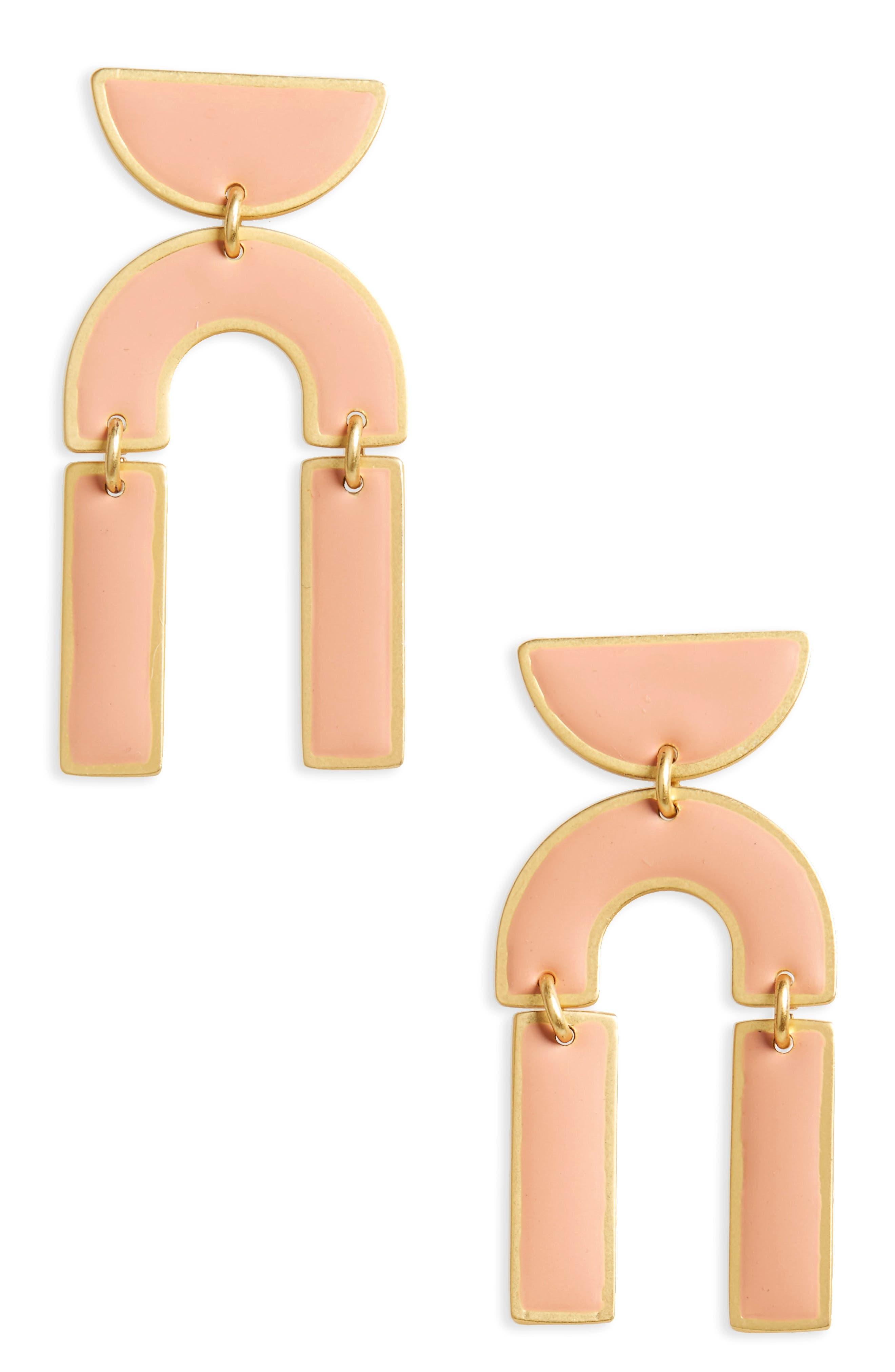 Modernism Half-Drop Earrings,                         Main,                         color, Antique Coral