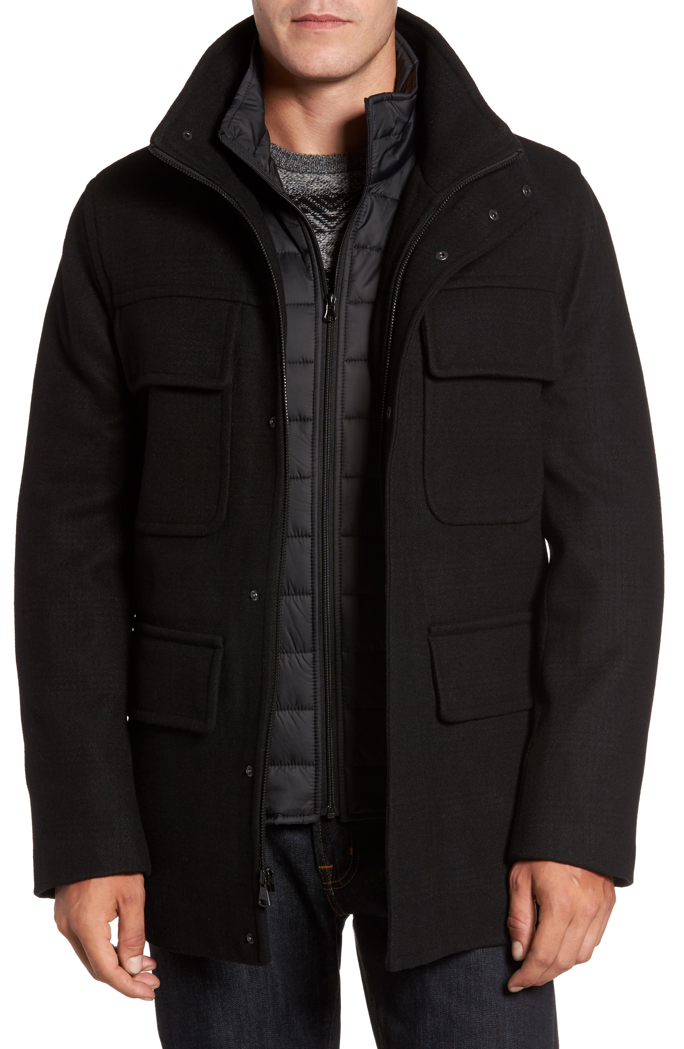 Shadow Plaid Wool Blend Jacket with Detachable Insert,                         Main,                         color, Black Plaid