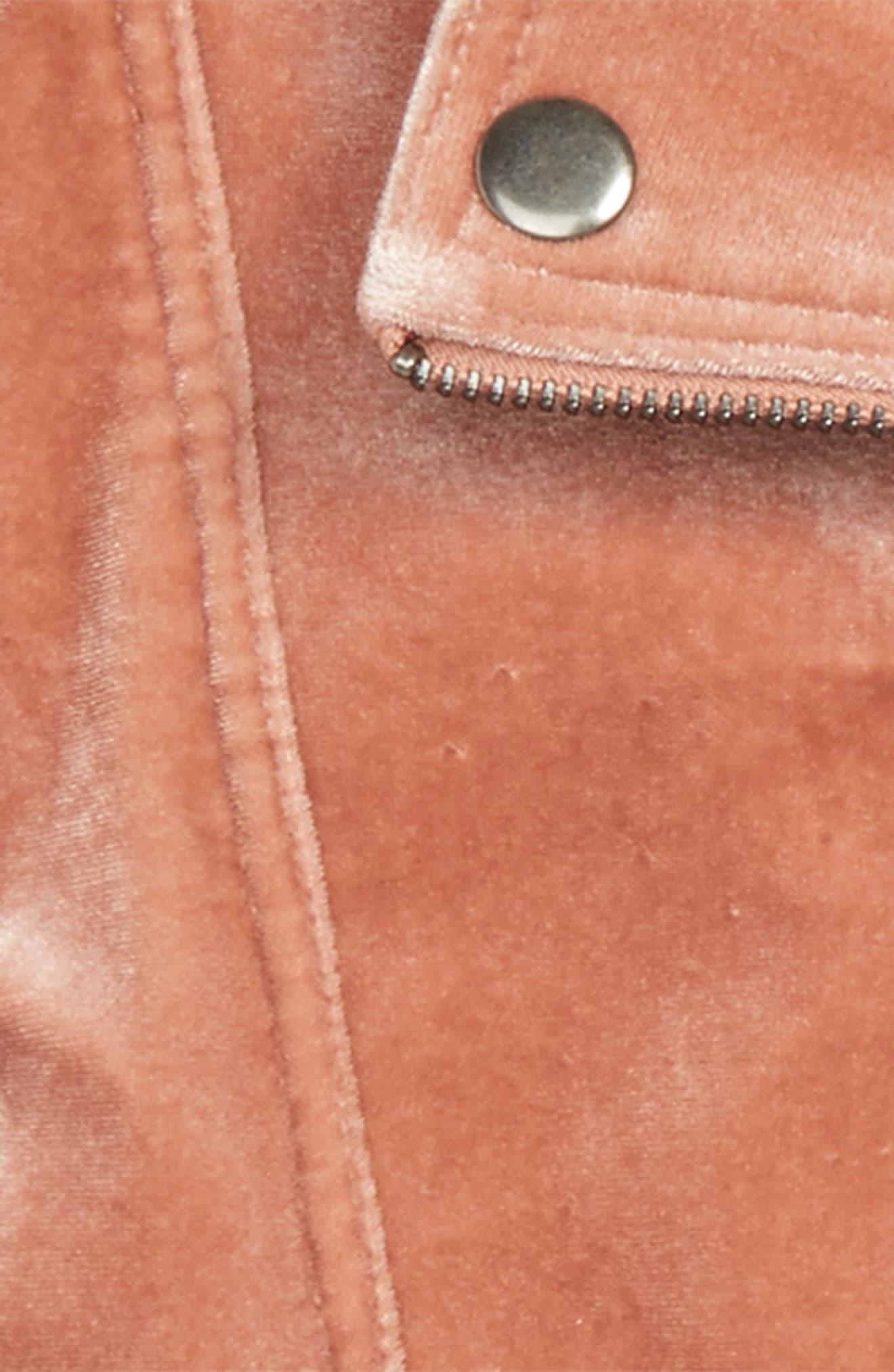 Velour Biker Jacket,                             Alternate thumbnail 2, color,                             Pink