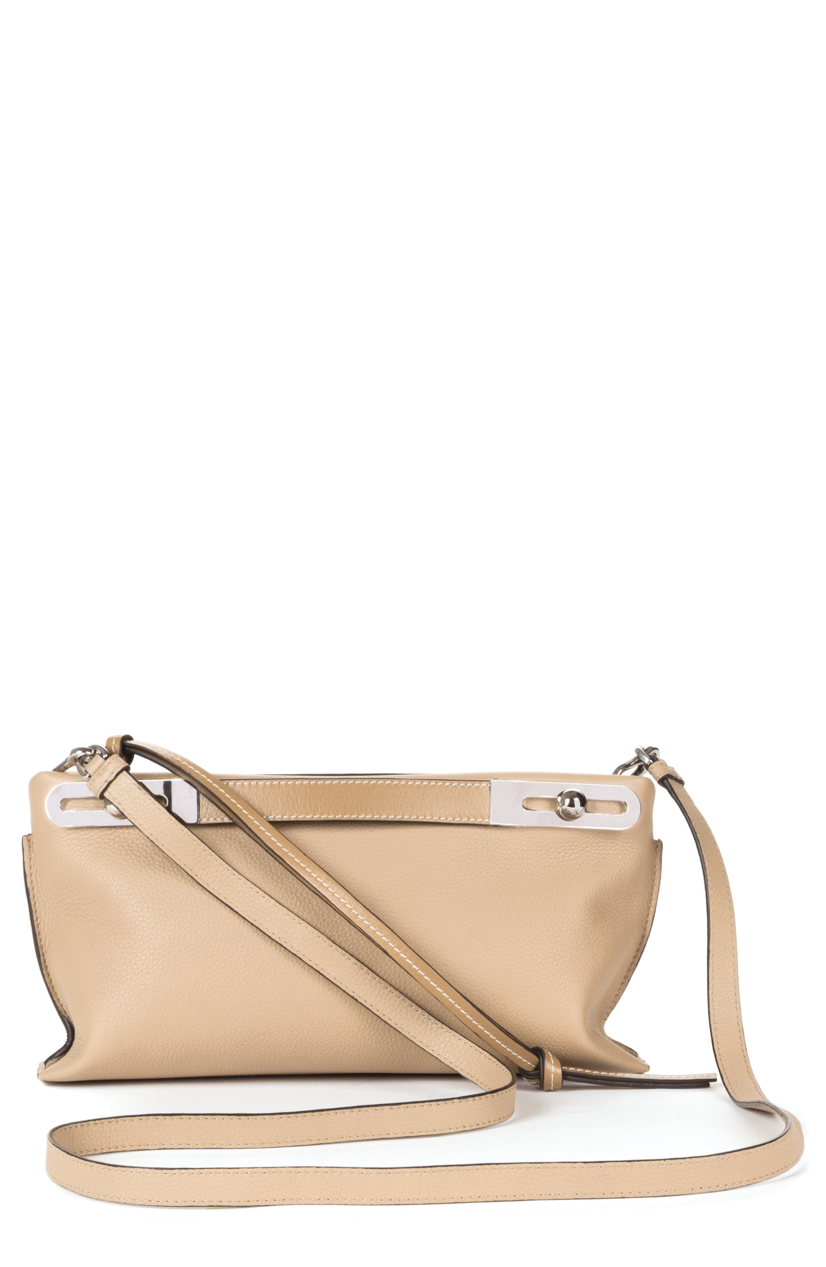 Small Missy Leather Crossbody Bag,                             Main thumbnail 1, color,                             Sand/ Mink