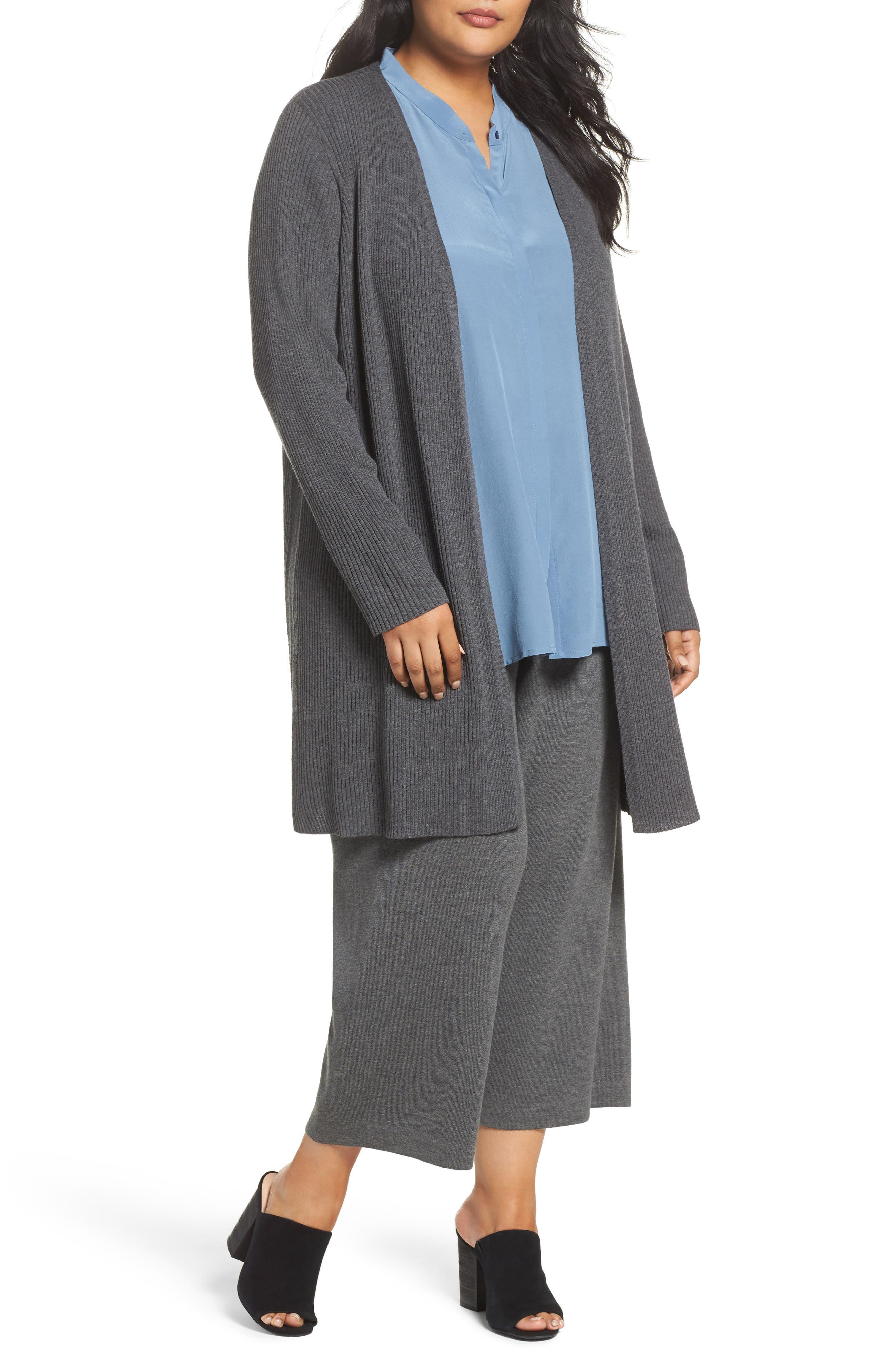 Long Ribbed Wool Cardigan,                         Main,                         color, Bark