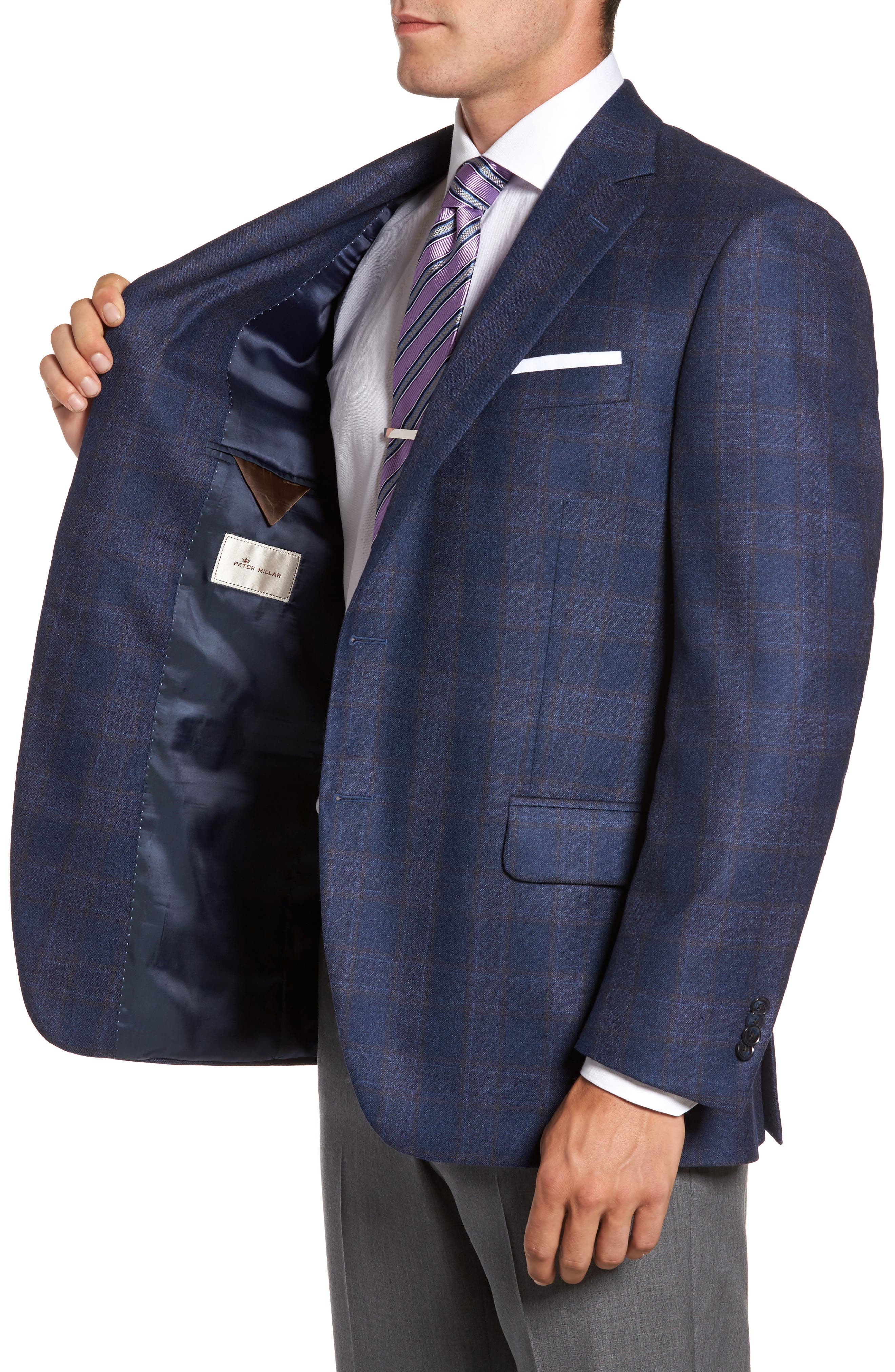 Flynn Classic Fit Plaid Wool Sport Coat,                             Alternate thumbnail 3, color,                             Blue
