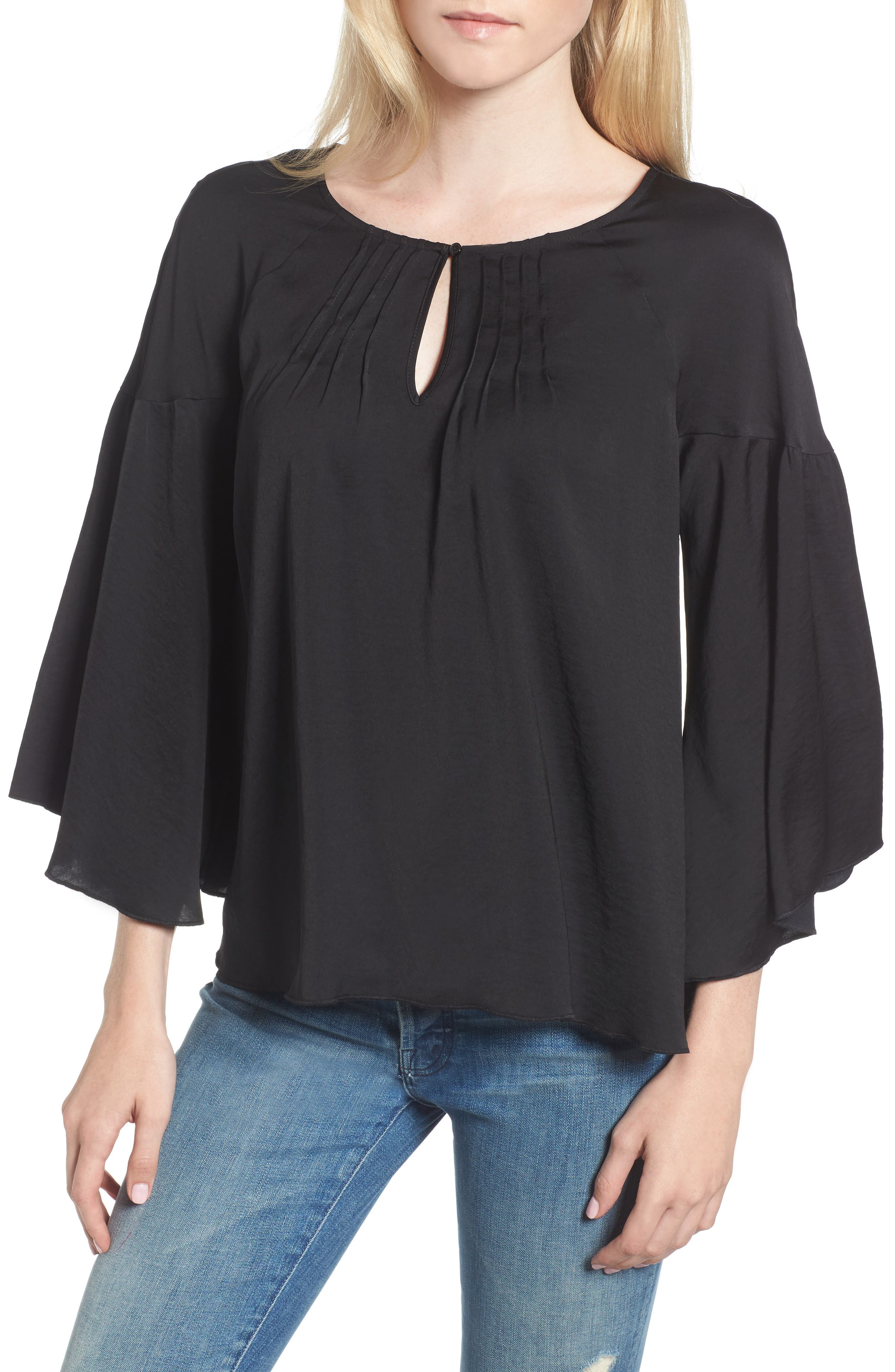 Satin Bell Sleeve Top,                         Main,                         color, Black