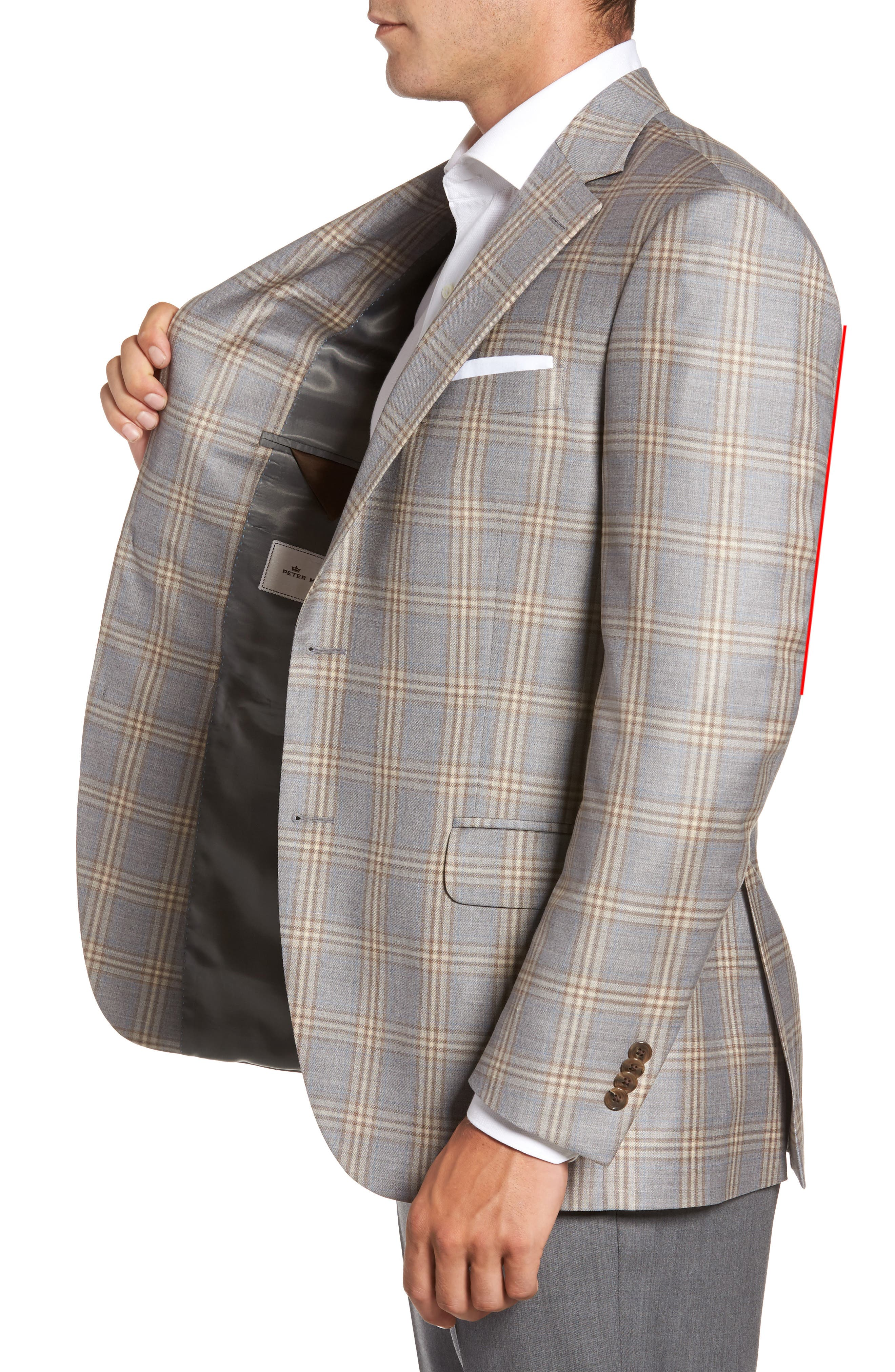 Flynn Classic Fit Plaid Wool Sport Coat,                             Alternate thumbnail 3, color,                             Grey