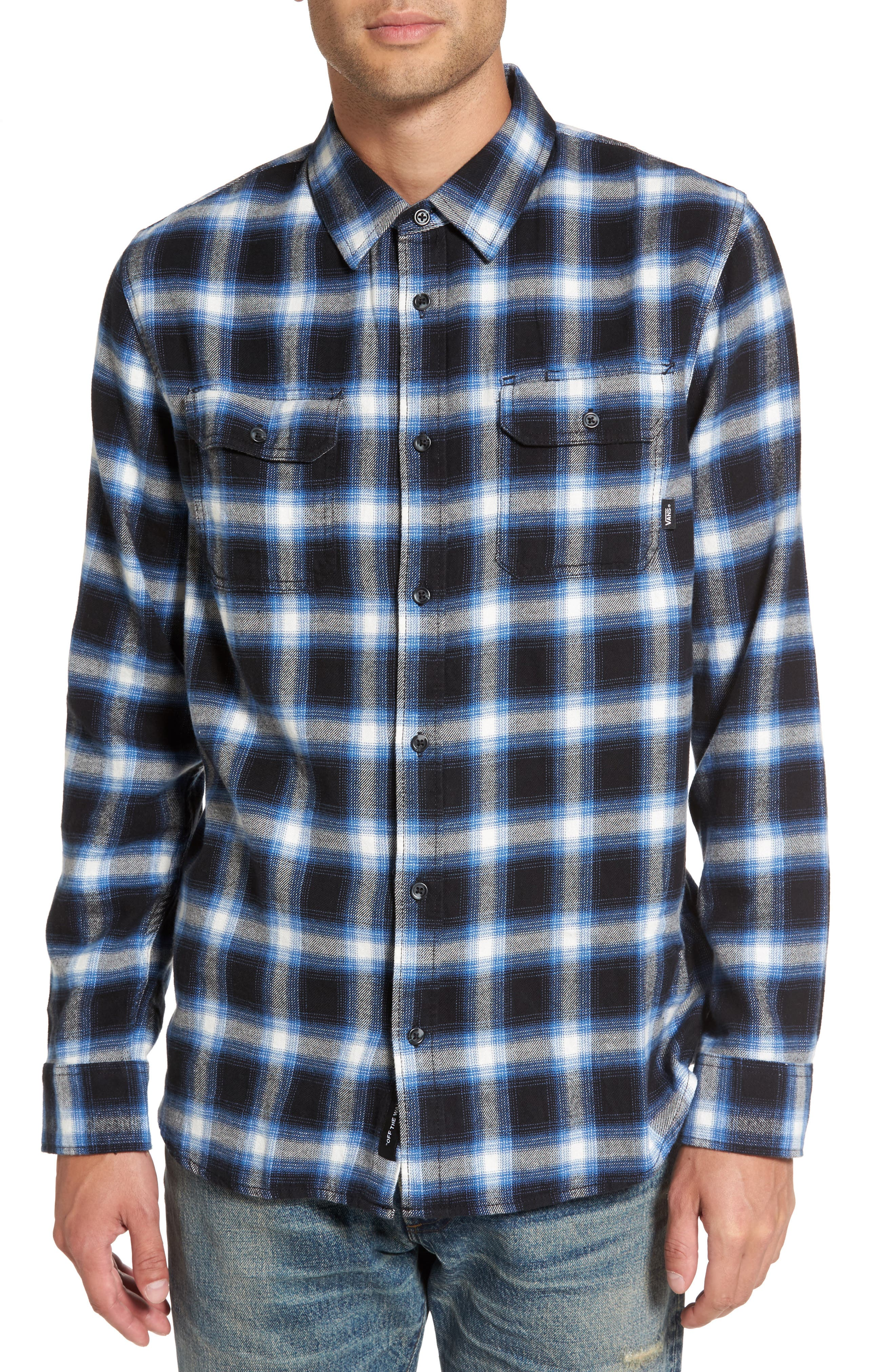 Beachwood Flannel Shirt,                             Main thumbnail 1, color,                             Black/ Delft