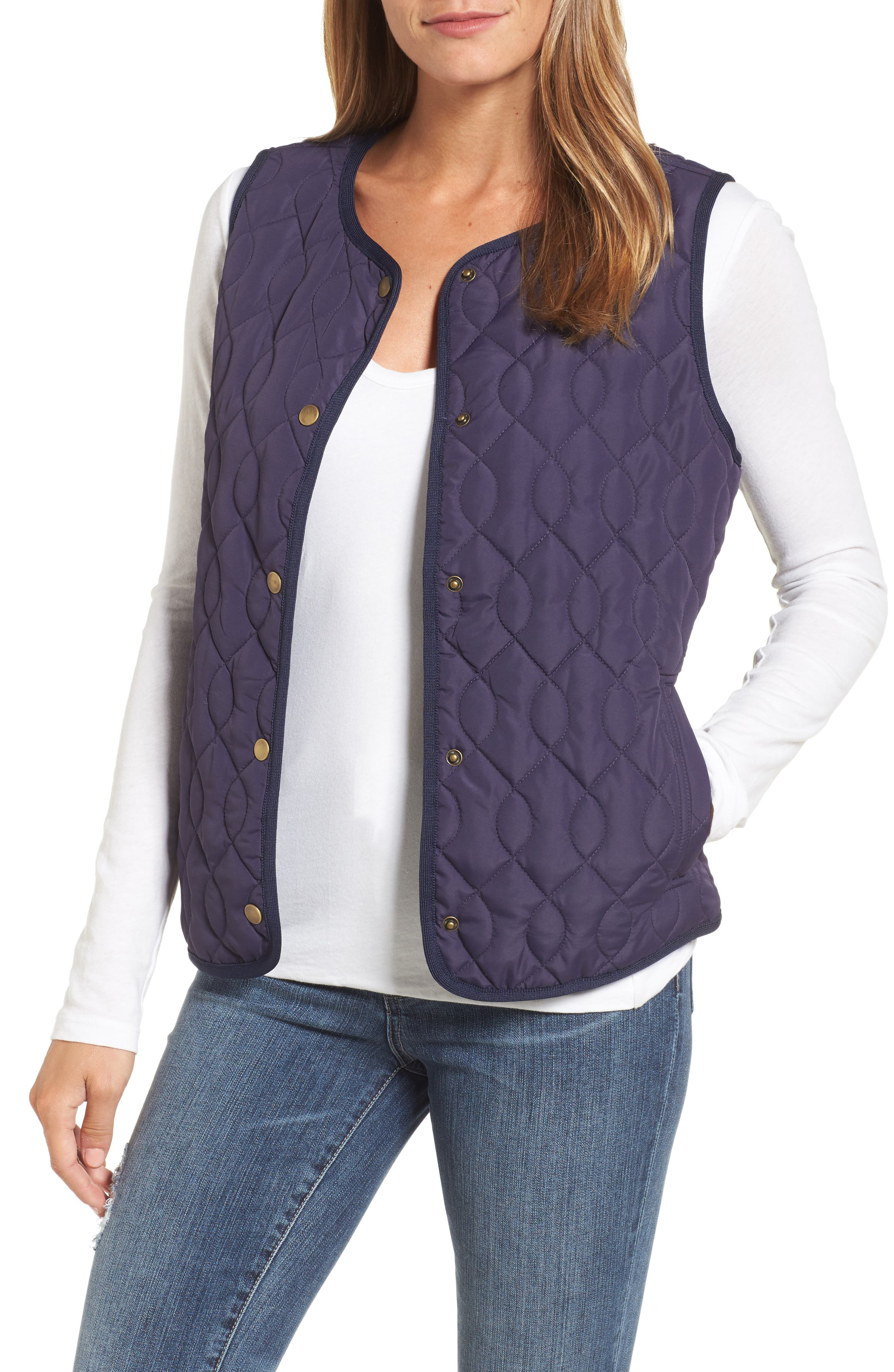Caslon® Collarless Quilted Vest (Regular & Petite)