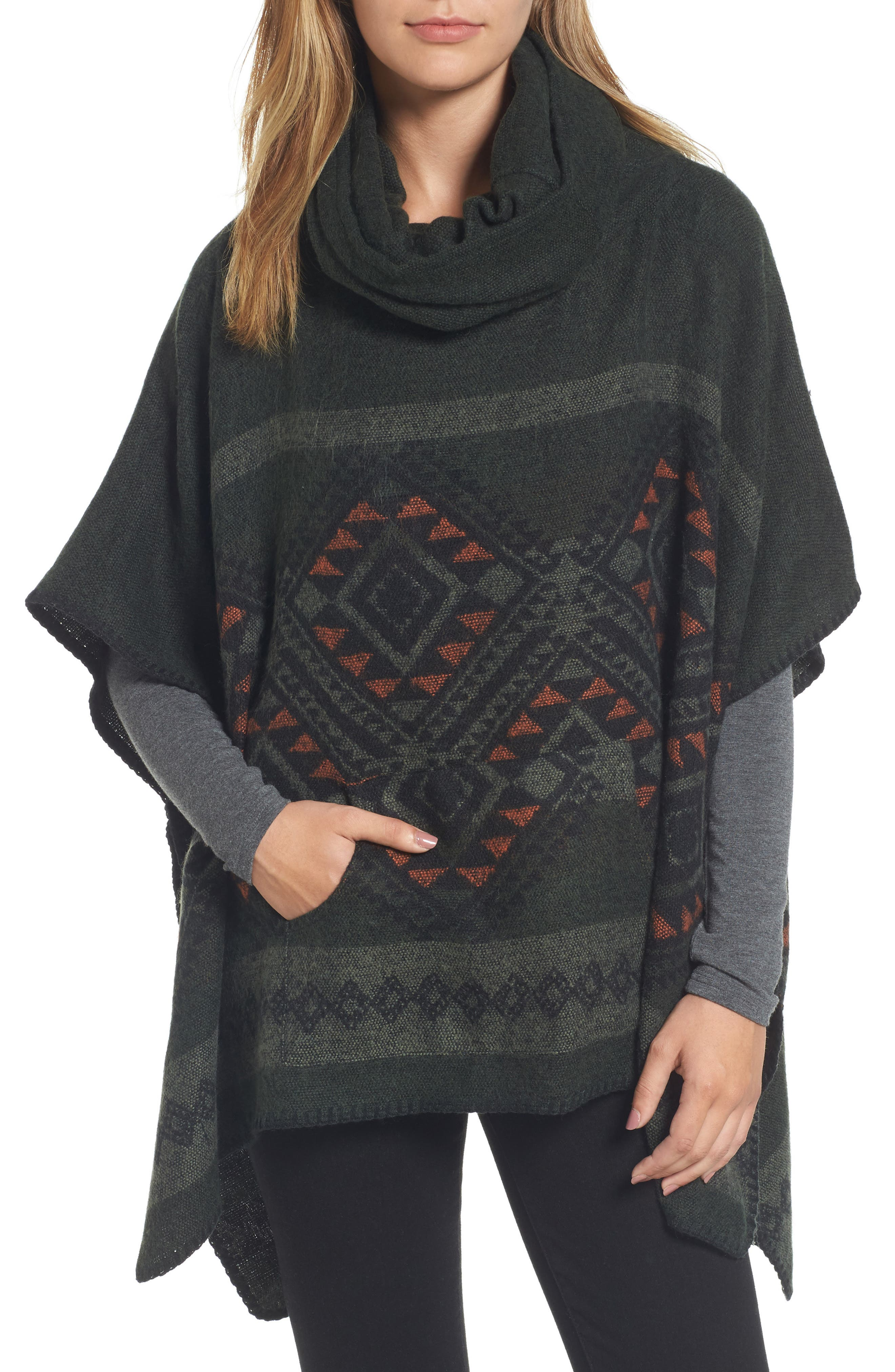 Cowl Neck Poncho,                         Main,                         color, Olive