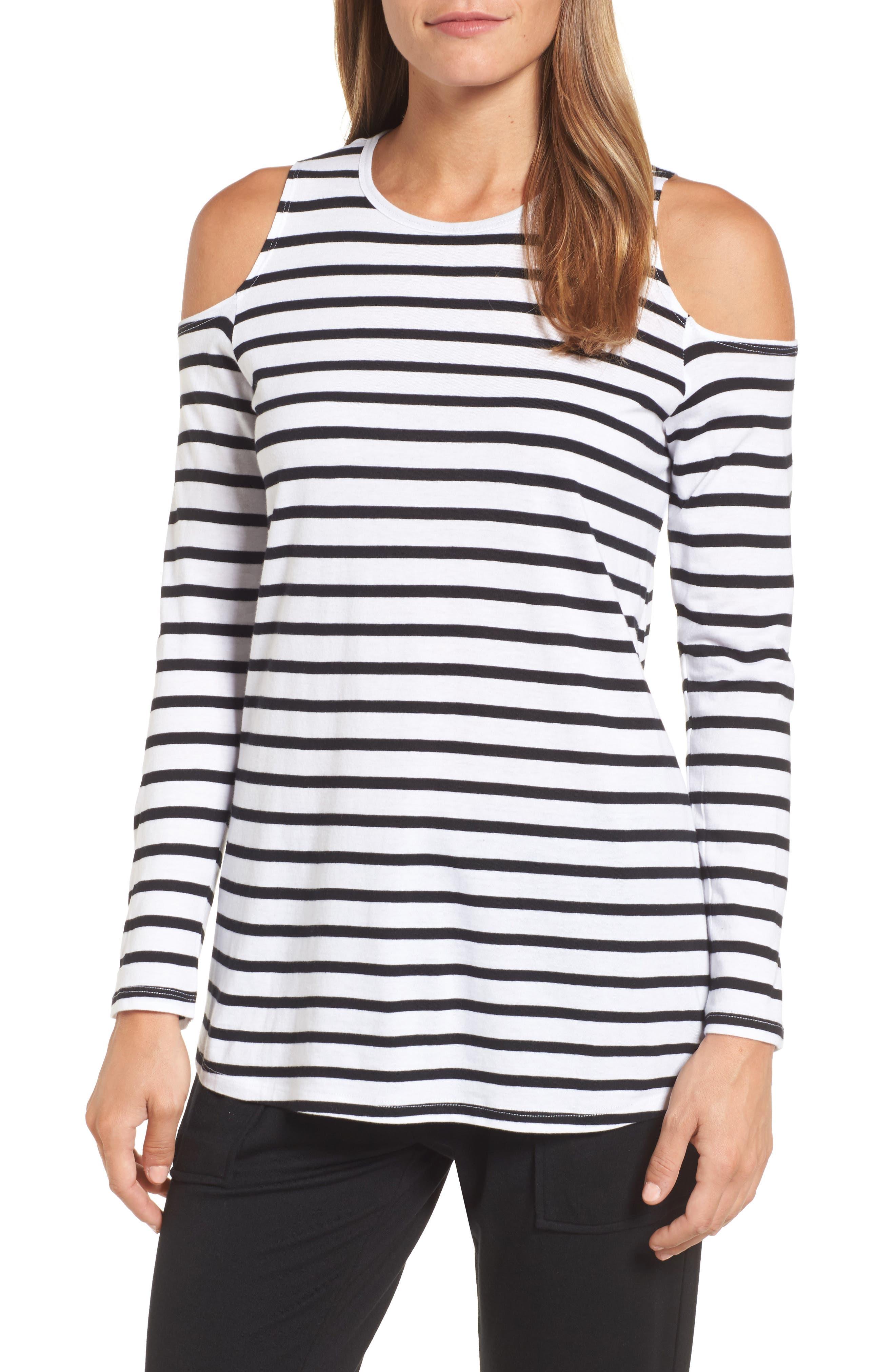 Open Shoulder Stripe Top,                         Main,                         color, White Black