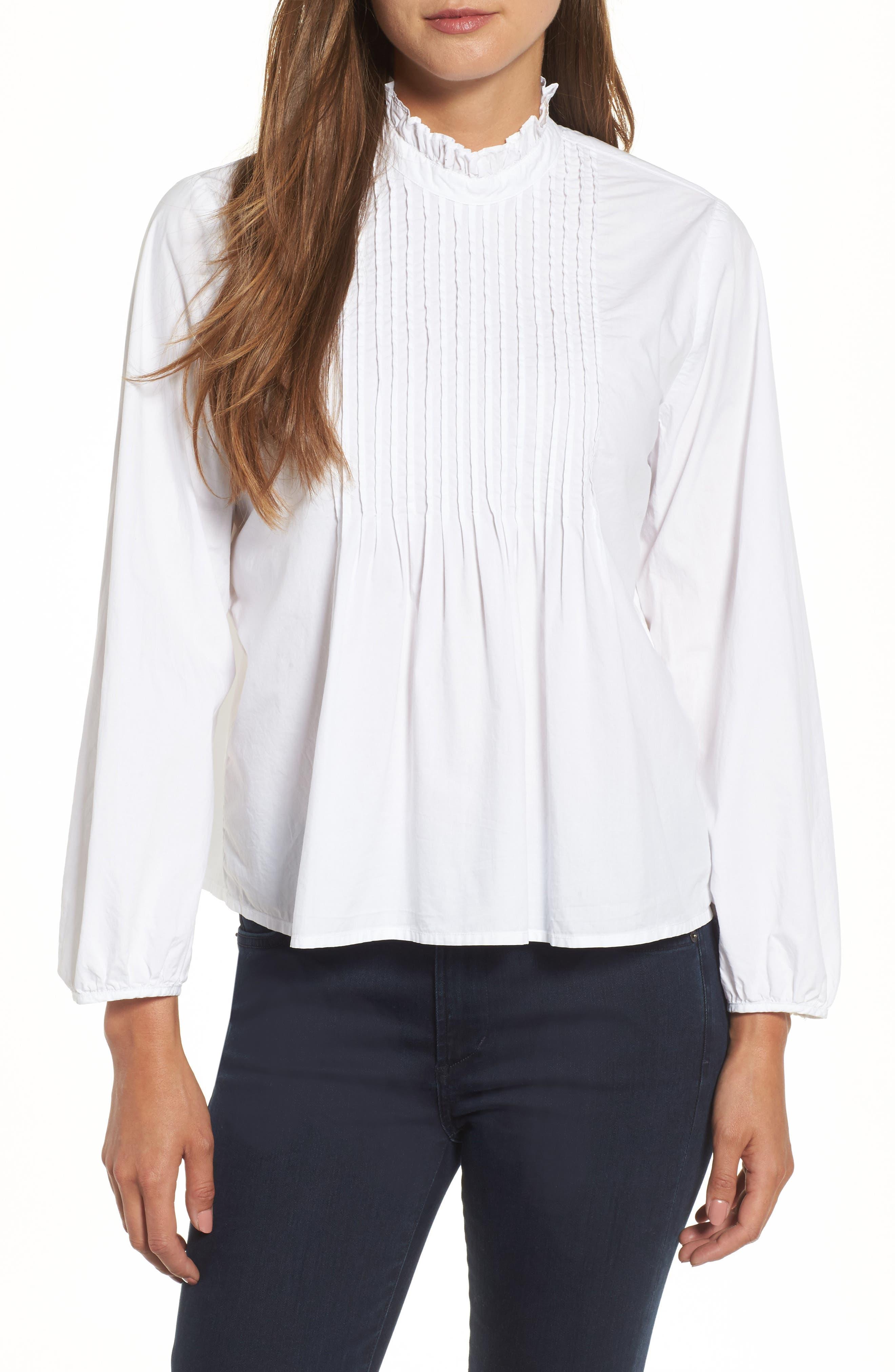 Velvet Poplin Pintuck Blouse,                         Main,                         color, White