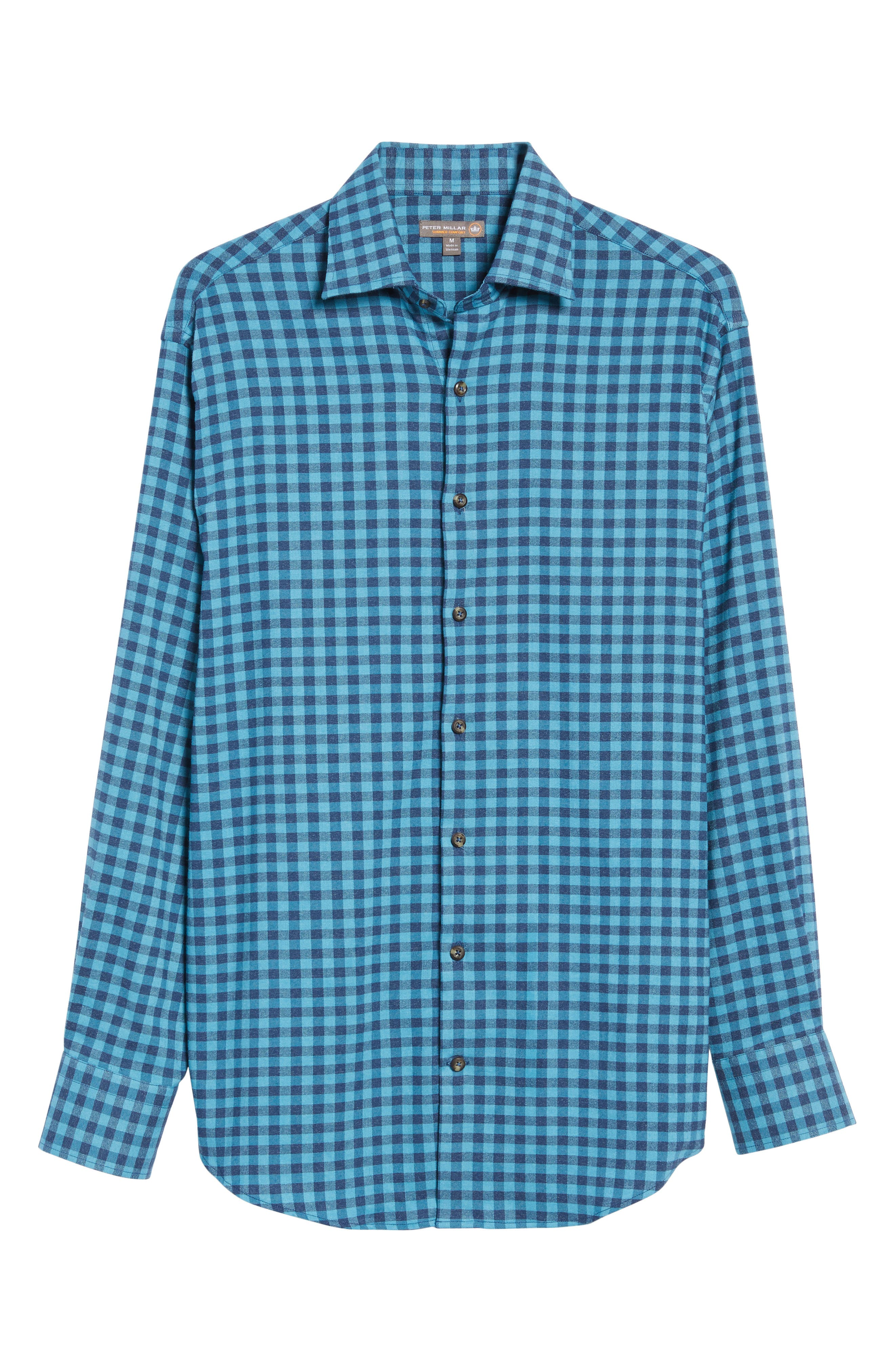 Vedder Gingham Regular Fit Performance Sport Shirt,                             Alternate thumbnail 6, color,                             Midnight