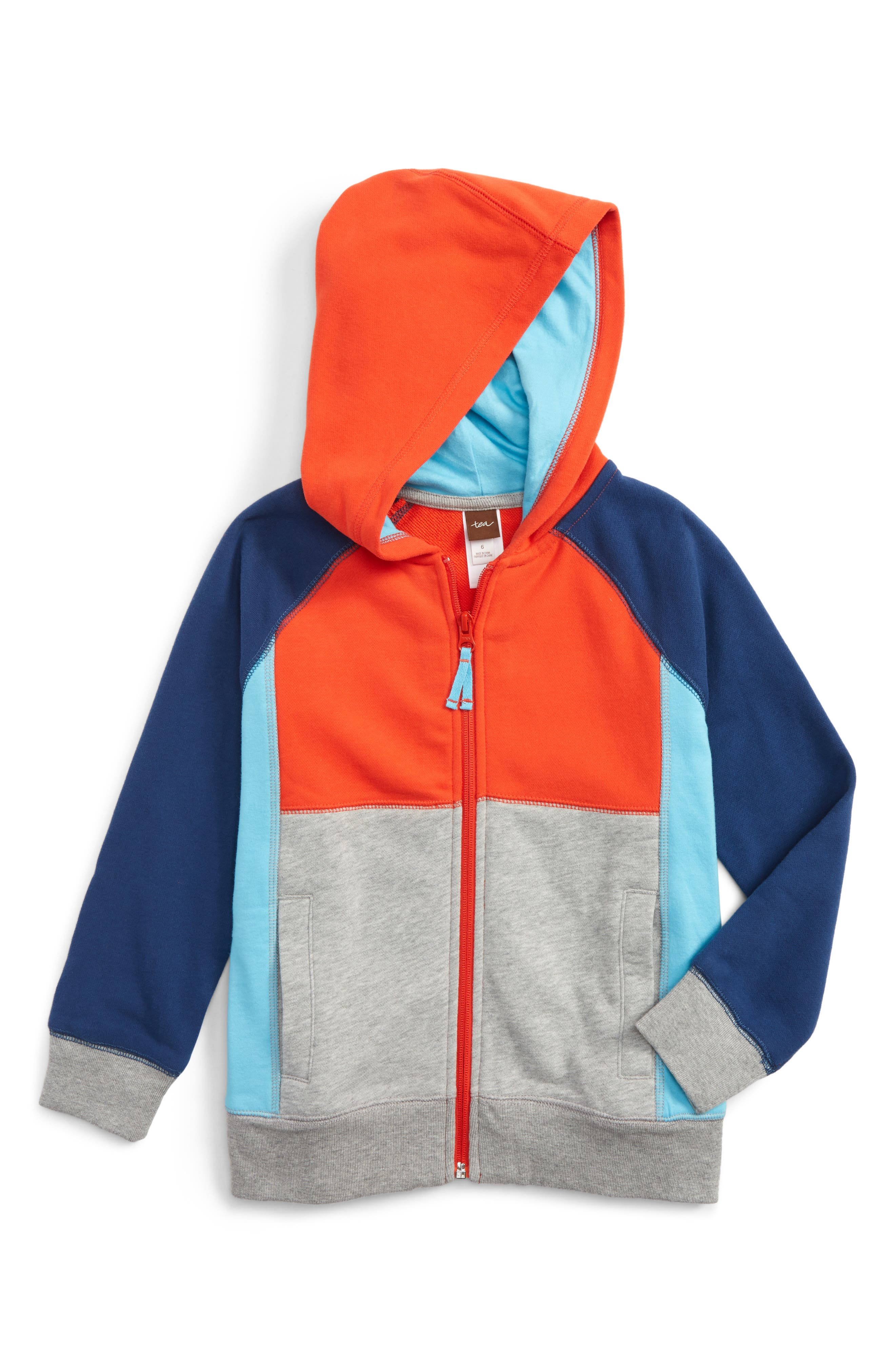 Tea Collection Colorblock Zip Hoodie (Toddler Boys & Little Boys)
