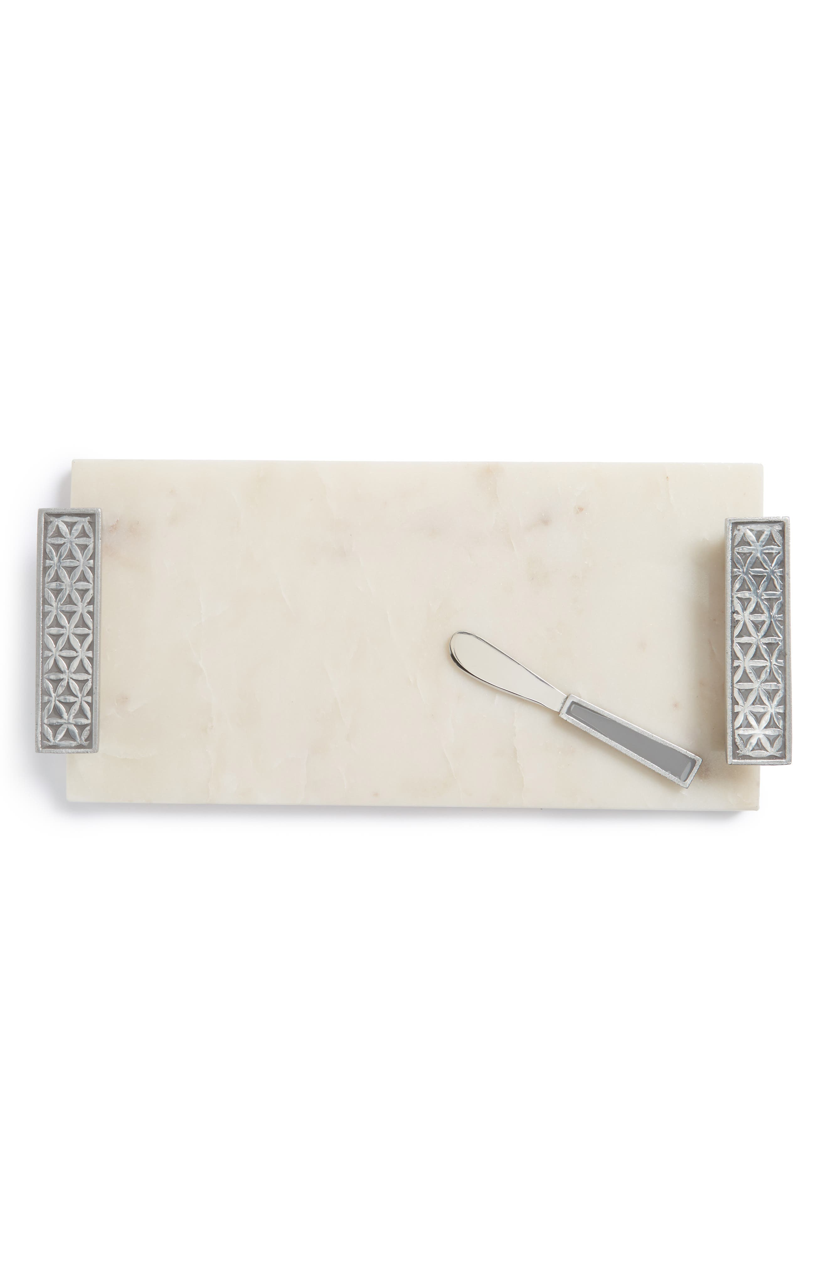 Flower of Life Cheese Board & Spreader,                         Main,                         color, Medium Grey