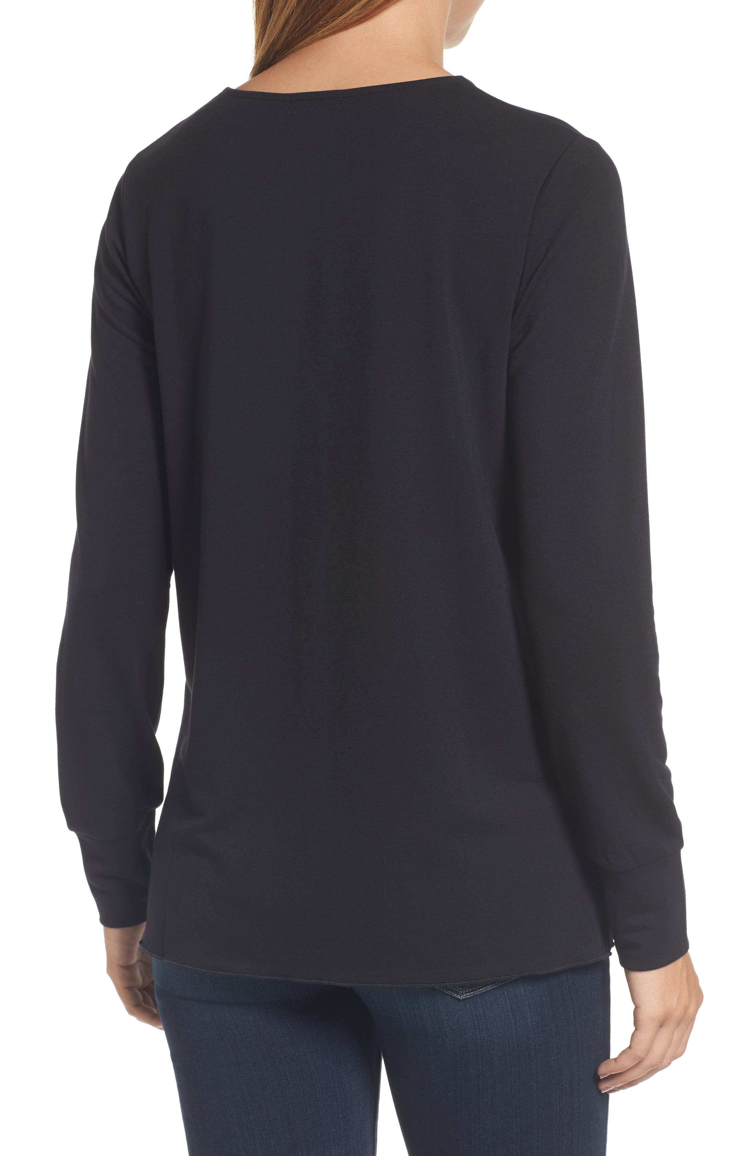 Alternate Image 2  - Halogen® Ruffle Hem Sweatshirt (Regular & Petite)
