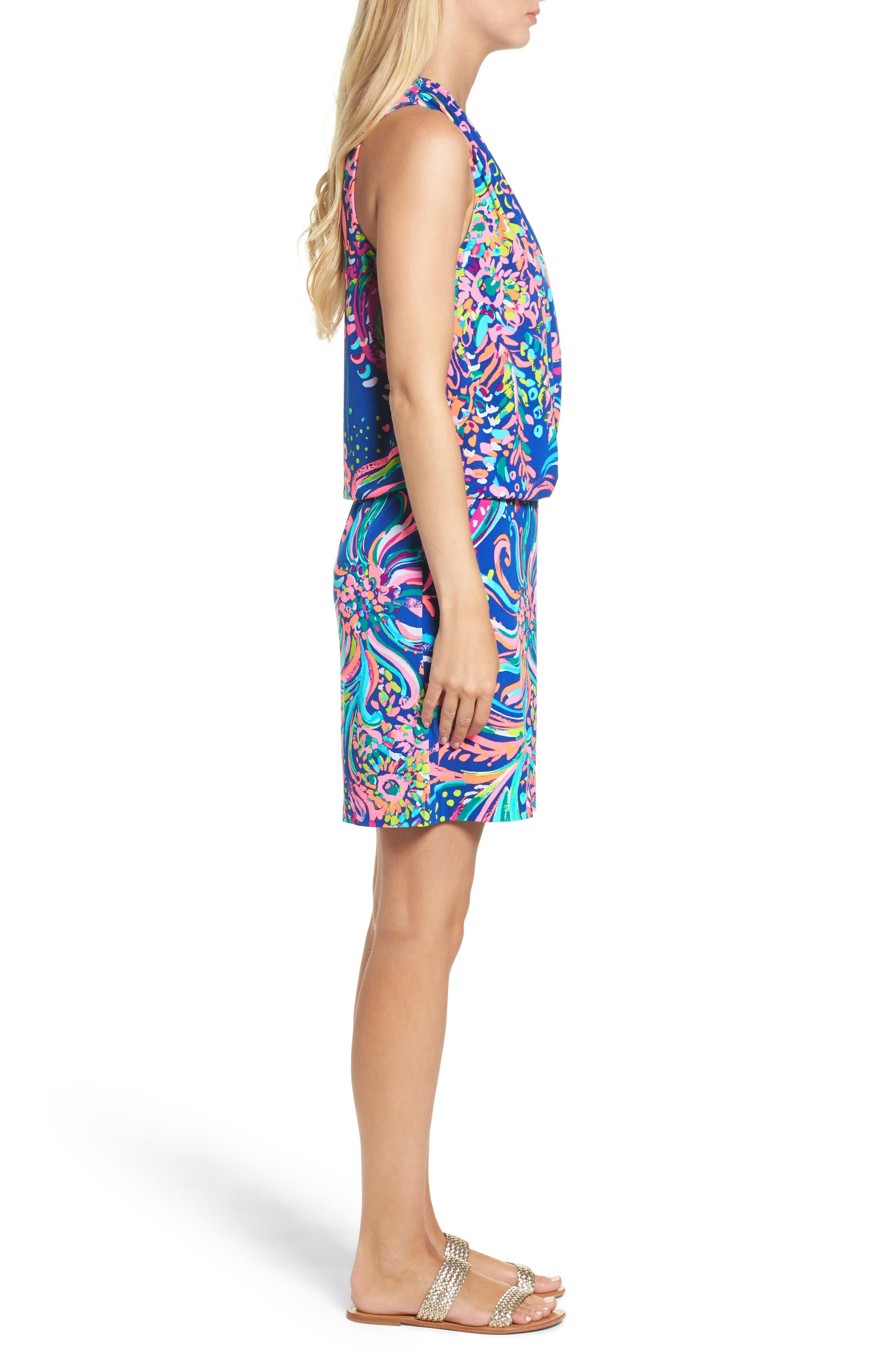 Felizia Blouson Dress,                             Alternate thumbnail 3, color,                             Multi Beach Loot