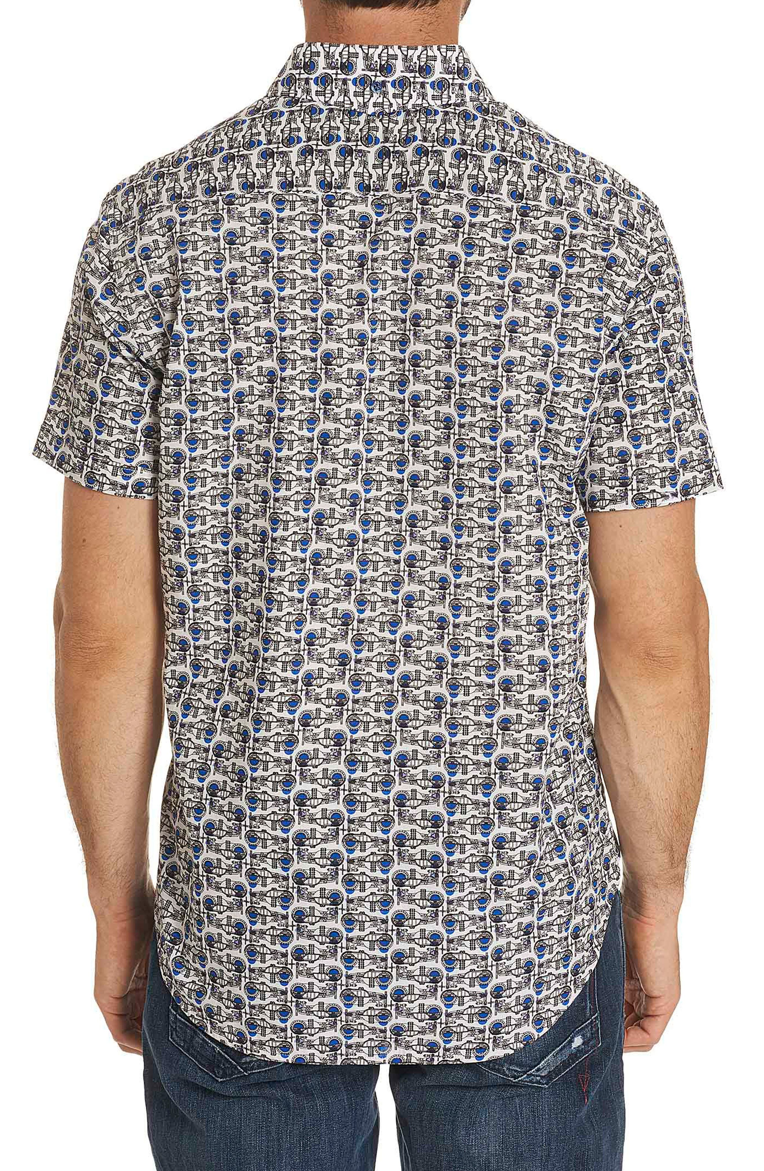 Basin Classic Fit Print Sport Shirt,                             Alternate thumbnail 2, color,                             White