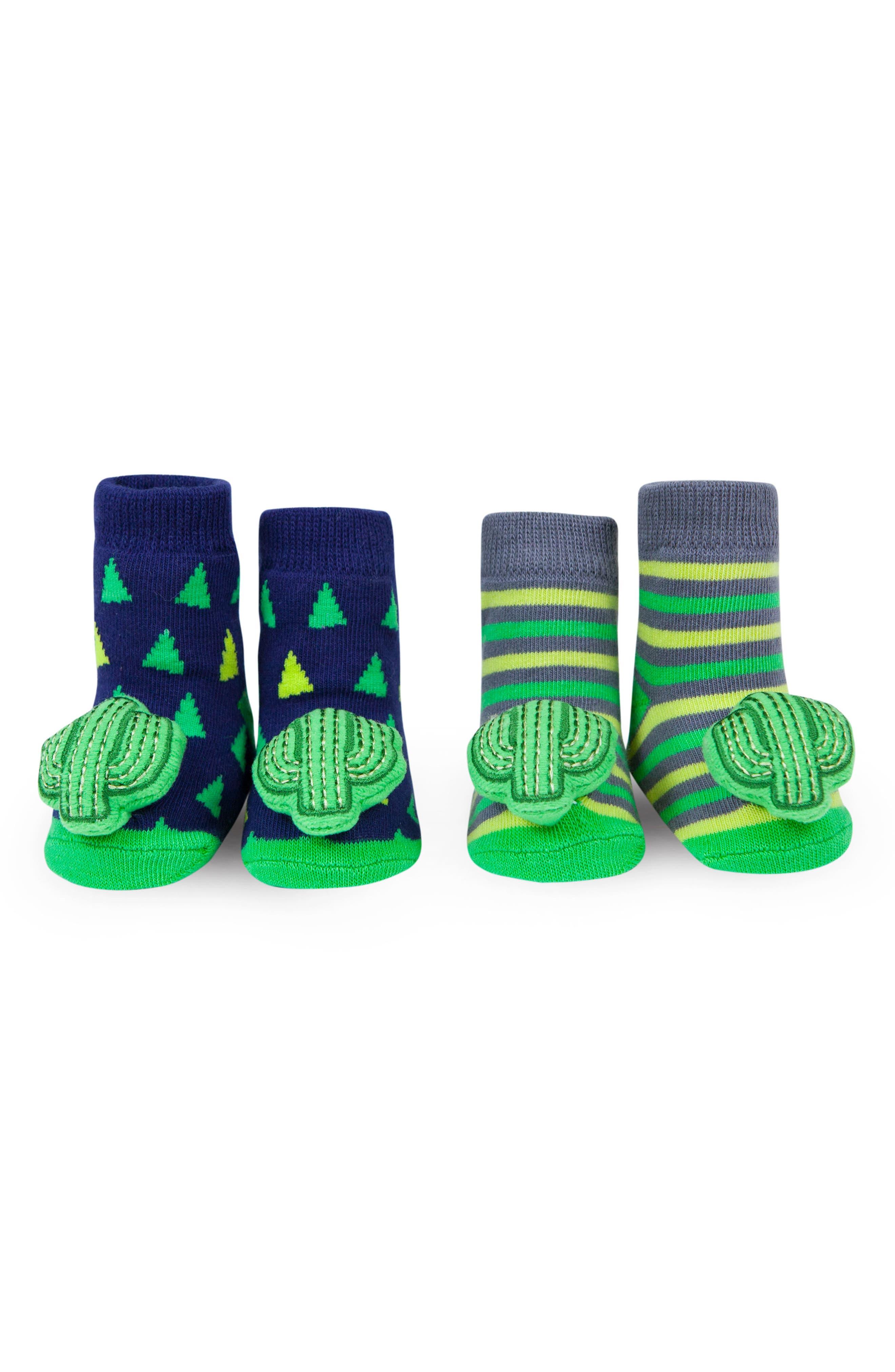 Cactus 2-Pack Rattle Socks,                             Main thumbnail 1, color,                             Blue/ Green