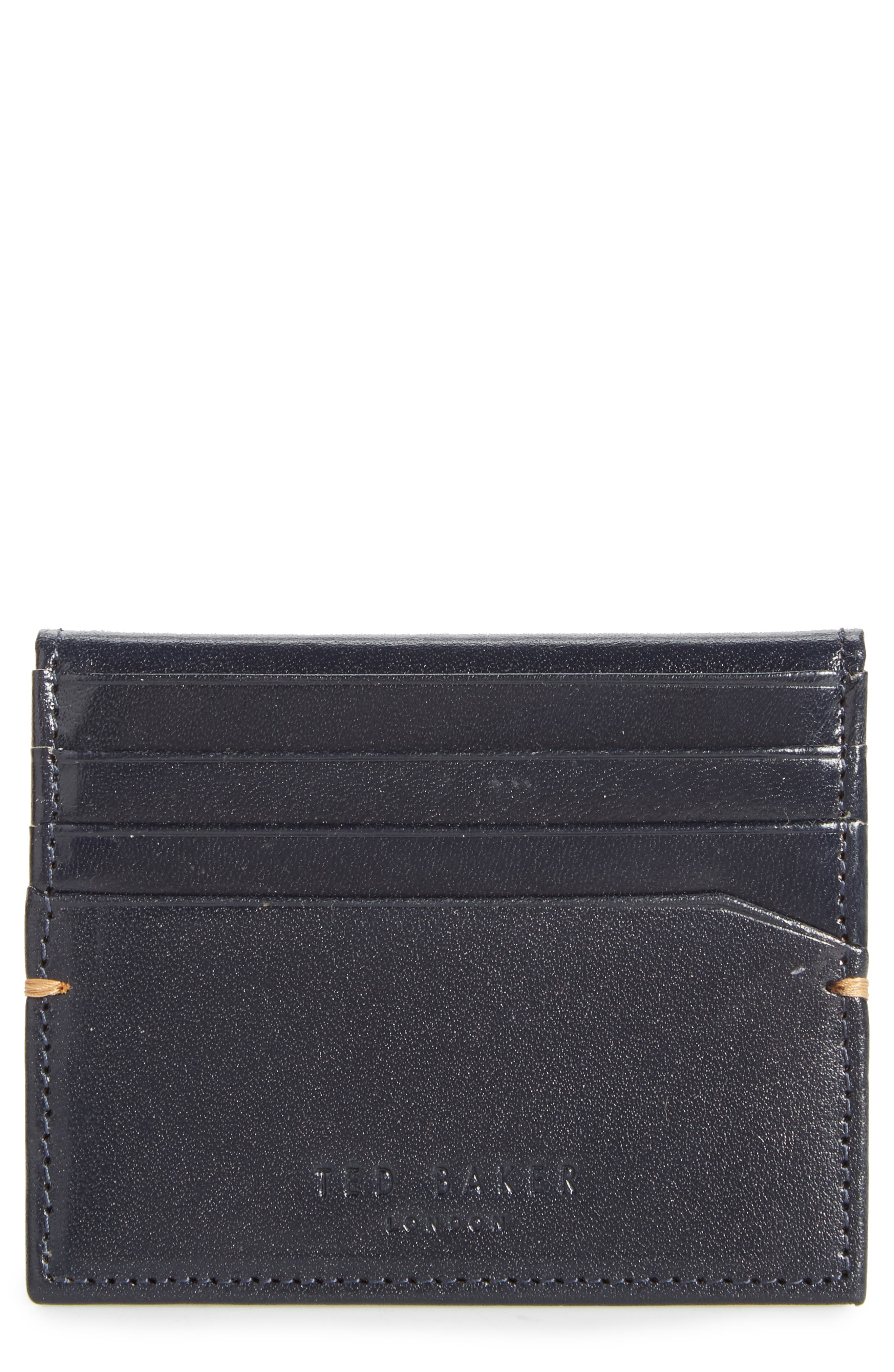 Brights Leather Card Case,                             Main thumbnail 1, color,                             Blue
