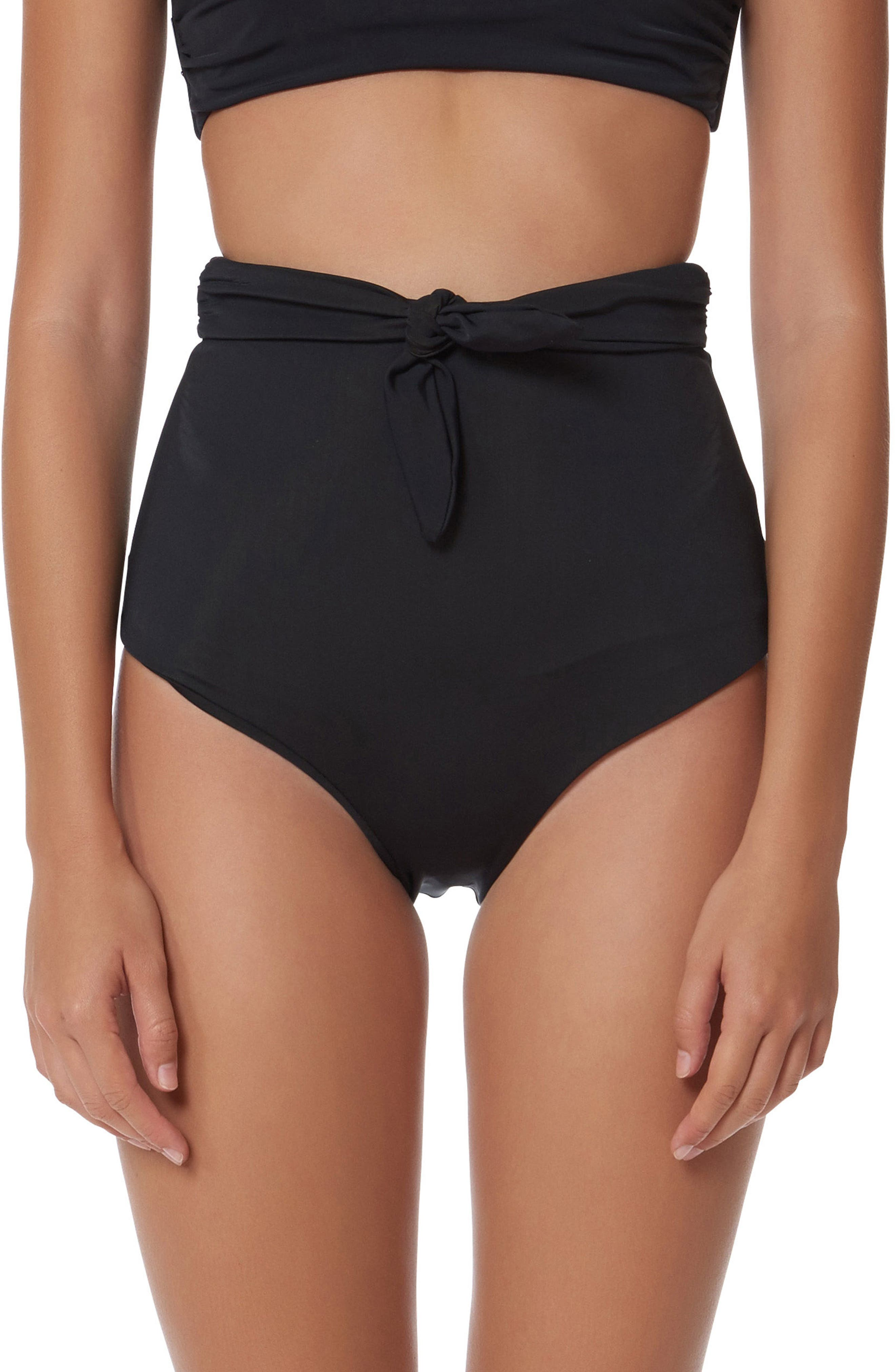 Jay High Waist Bikini Bottoms,                         Main,                         color, Black