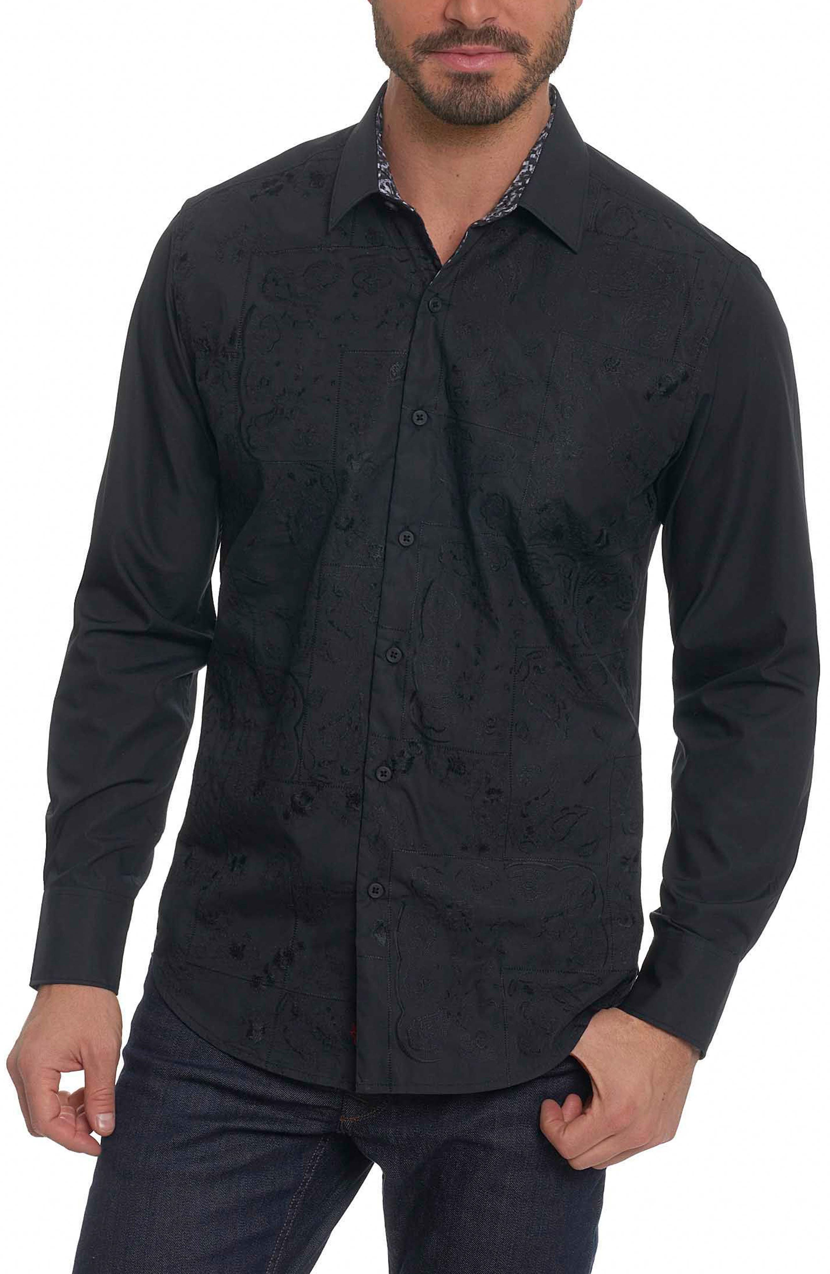Onyx Classic Fit Embroidered Sport Shirt,                         Main,                         color, Black