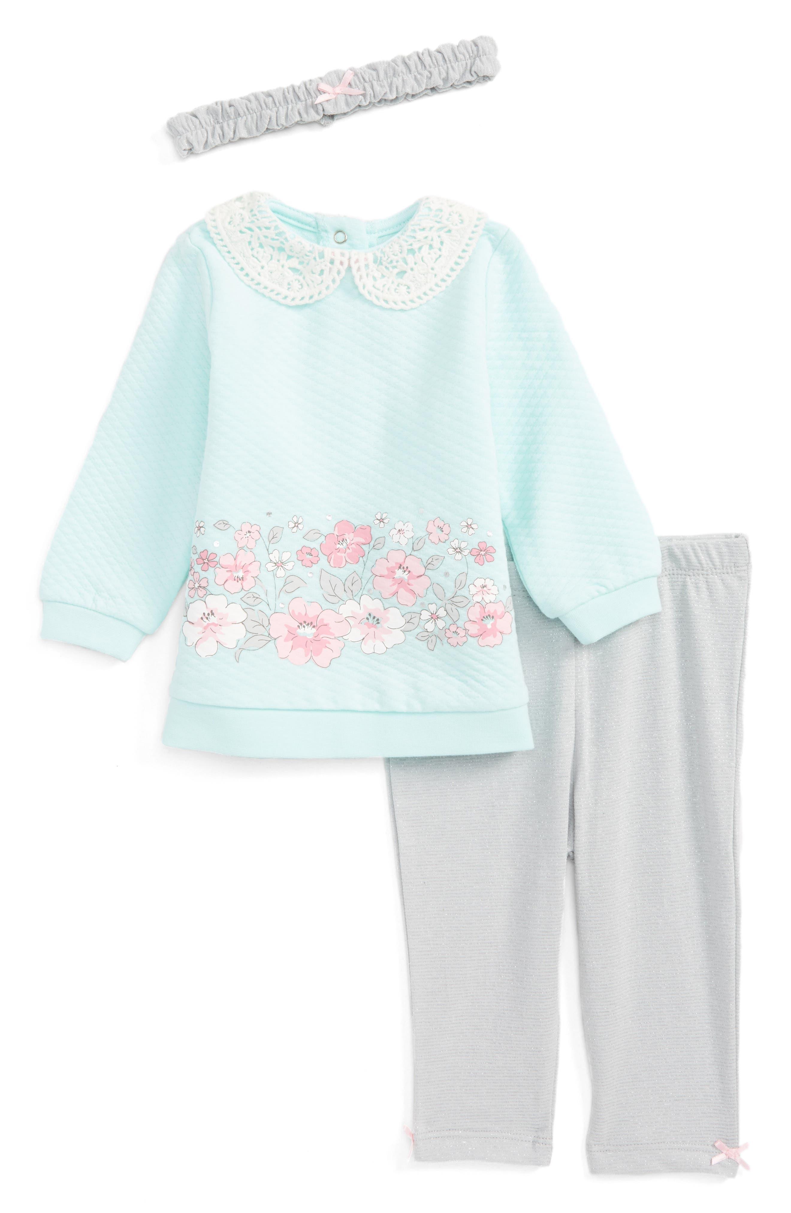 Blossoms Tunic, Leggings & Headband Set,                         Main,                         color, Grey Heather