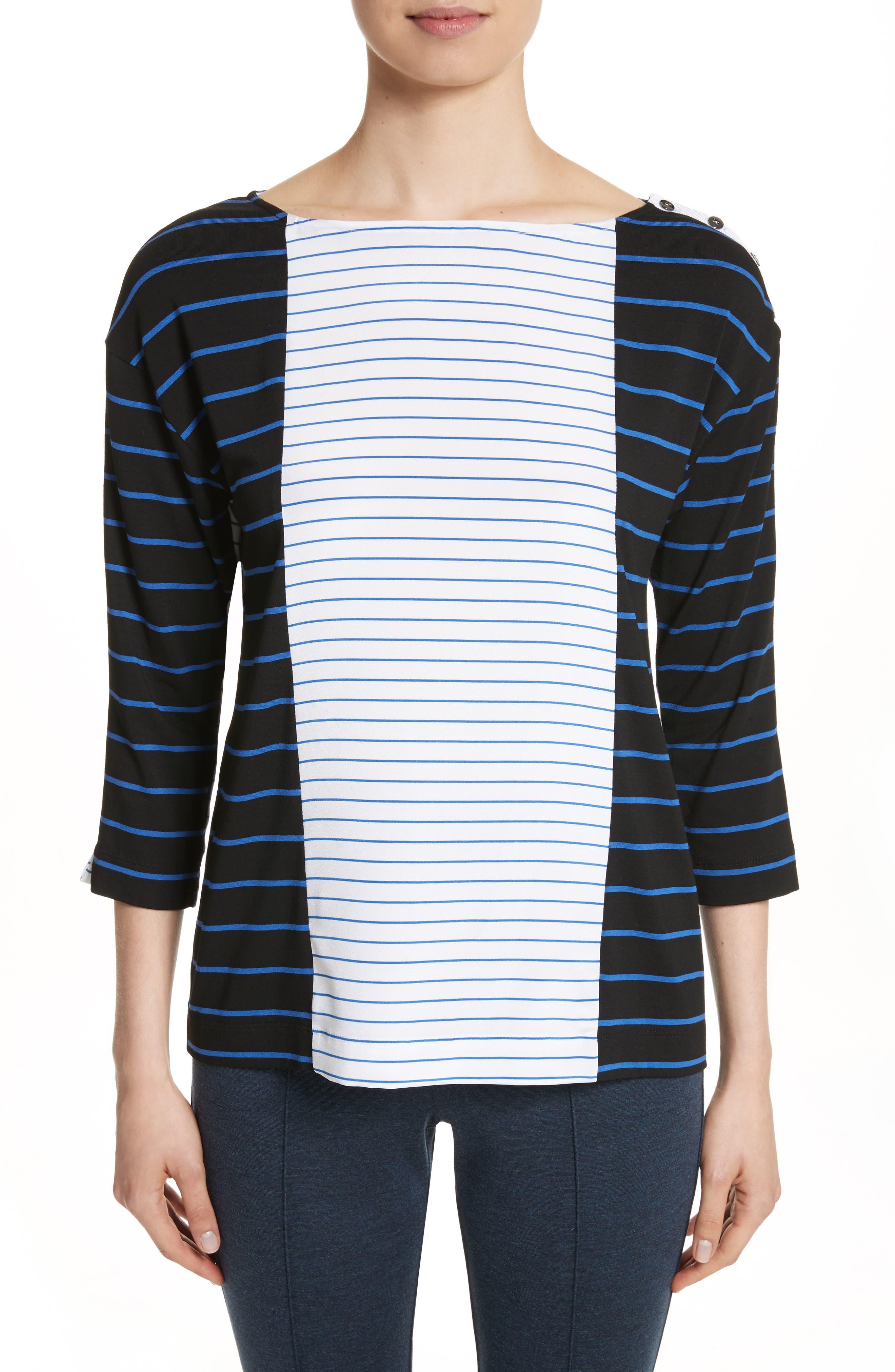 Yarn Dyed Stripe Jersey Top,                             Main thumbnail 1, color,                             Caviar/ Niagara/ Bianco