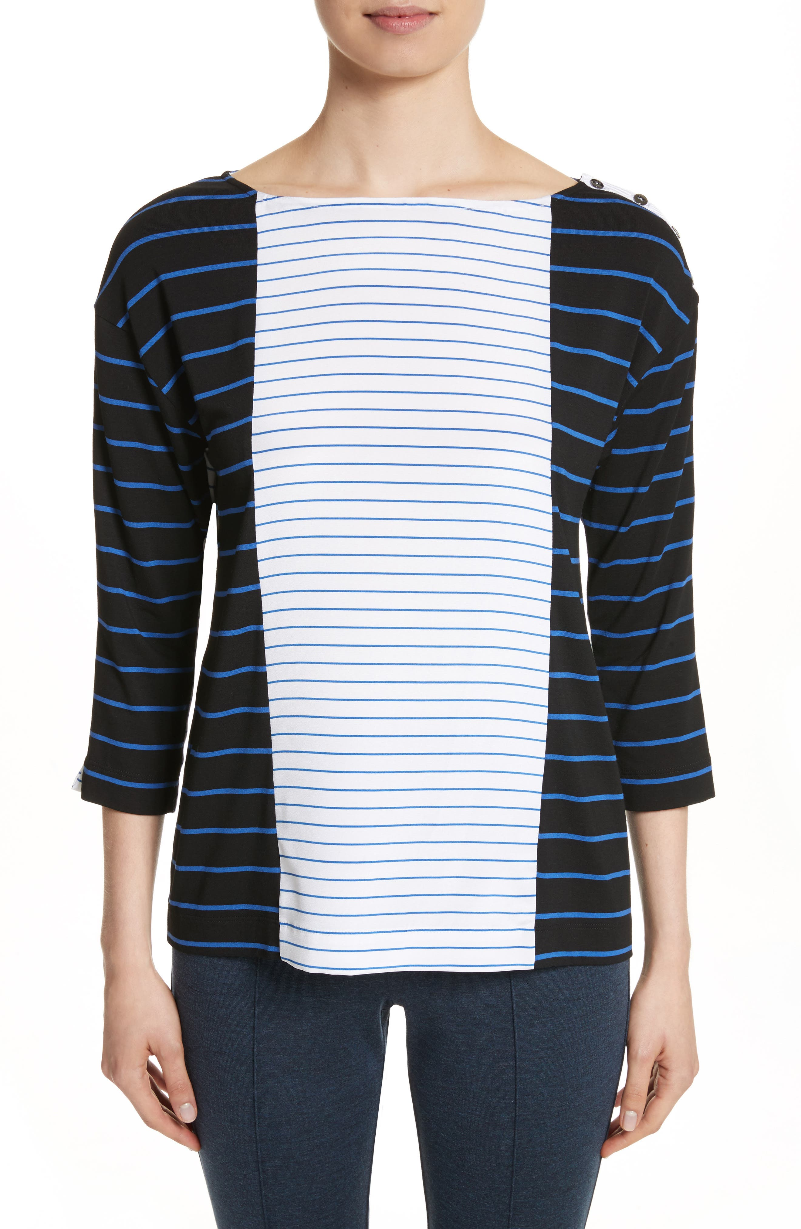 Yarn Dyed Stripe Jersey Top,                         Main,                         color, Caviar/ Niagara/ Bianco
